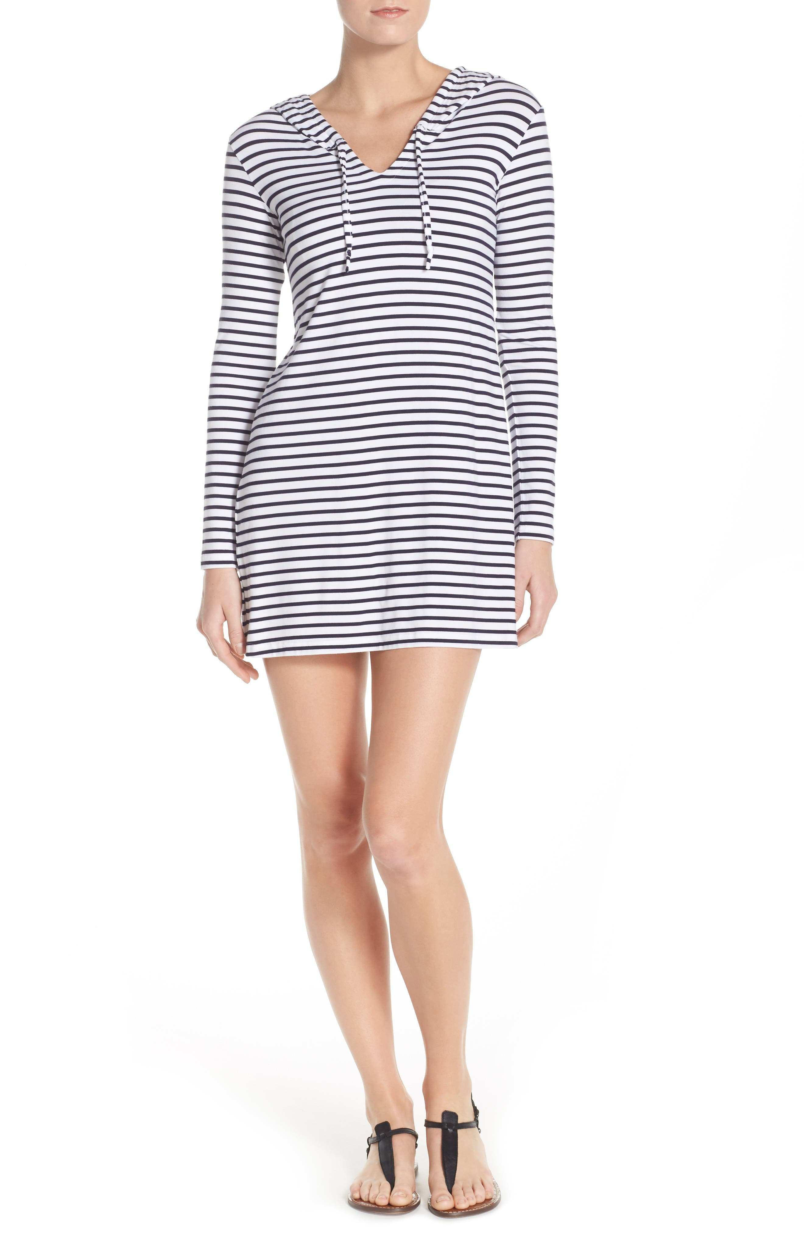 Print Hooded UPF 50 Cover-Up,                             Alternate thumbnail 4, color,                             100