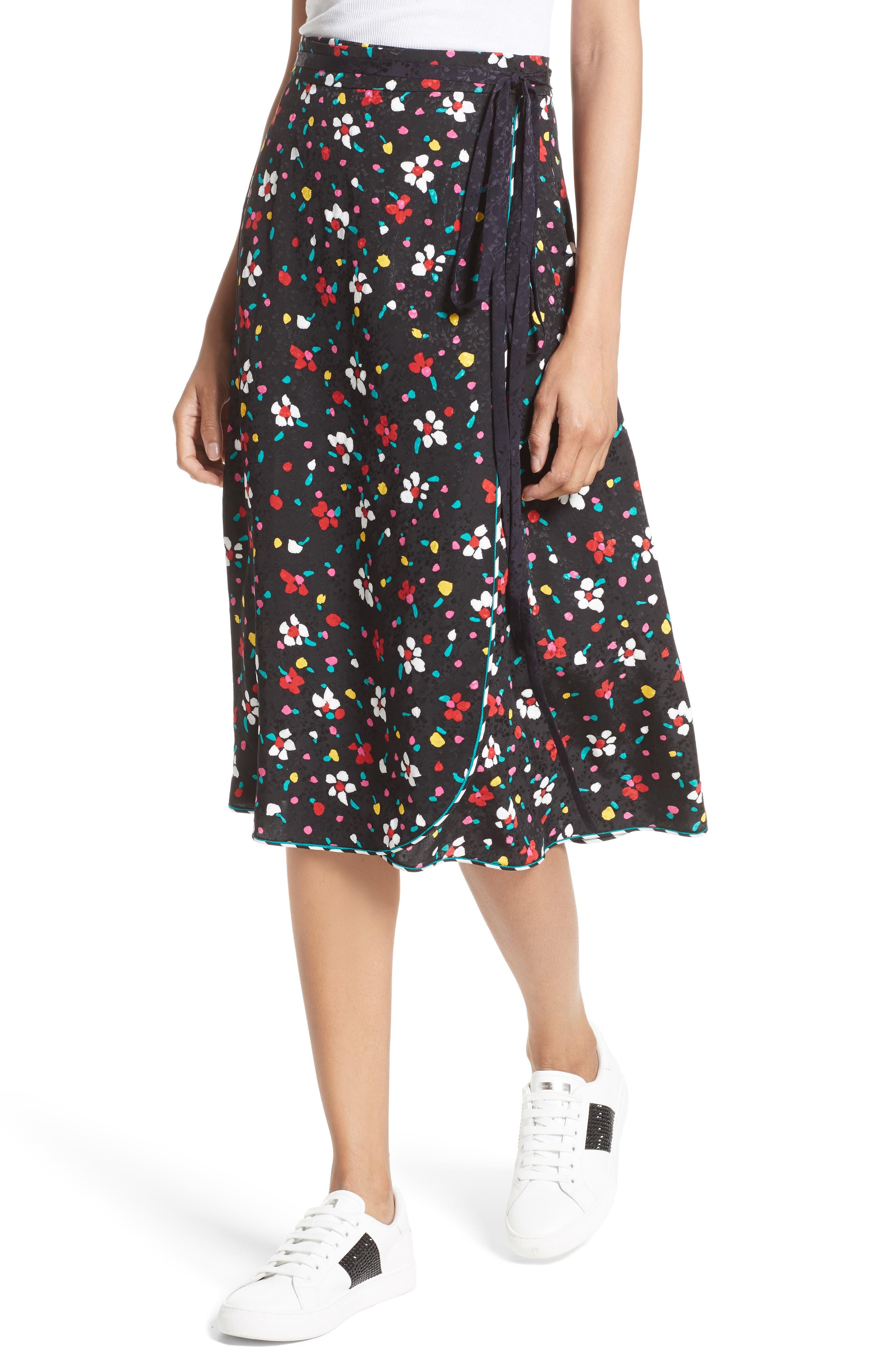 Floral Silk Jacquard Wrap Skirt,                             Alternate thumbnail 4, color,                             002