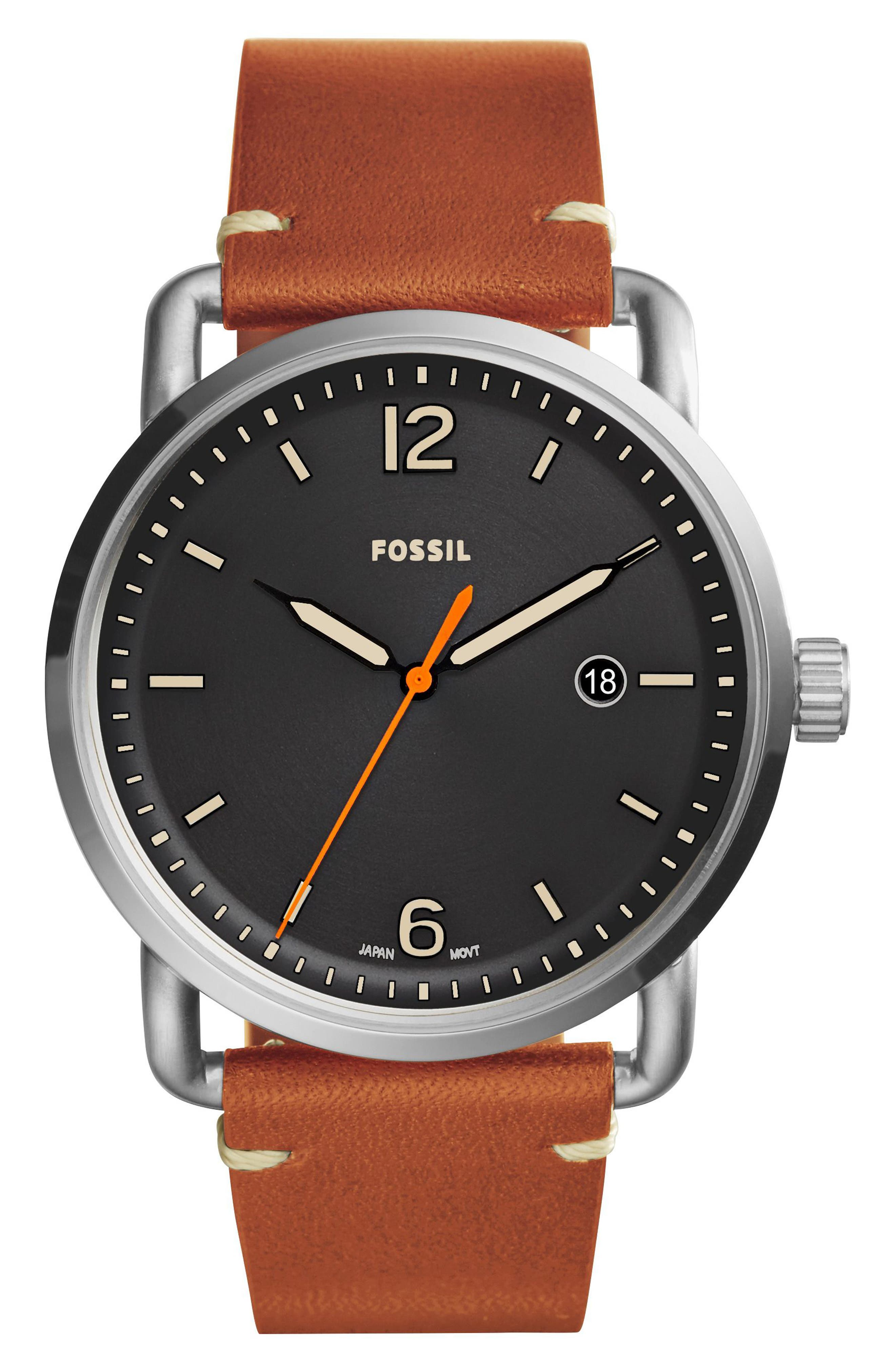 The Commuter Leather Strap Watch, 42mm,                             Main thumbnail 3, color,