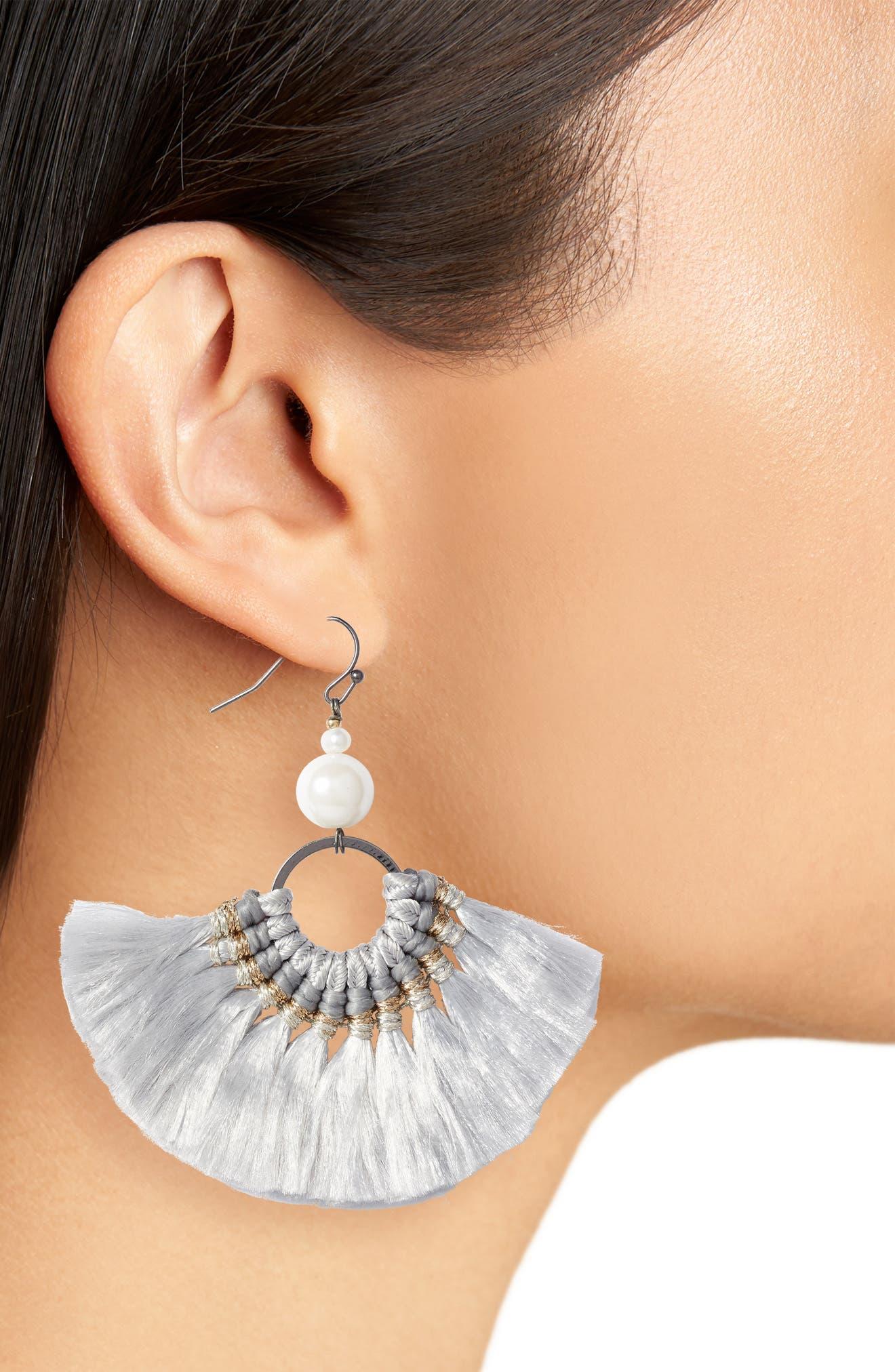 Tassel Pearl Earrings,                             Alternate thumbnail 2, color,                             020