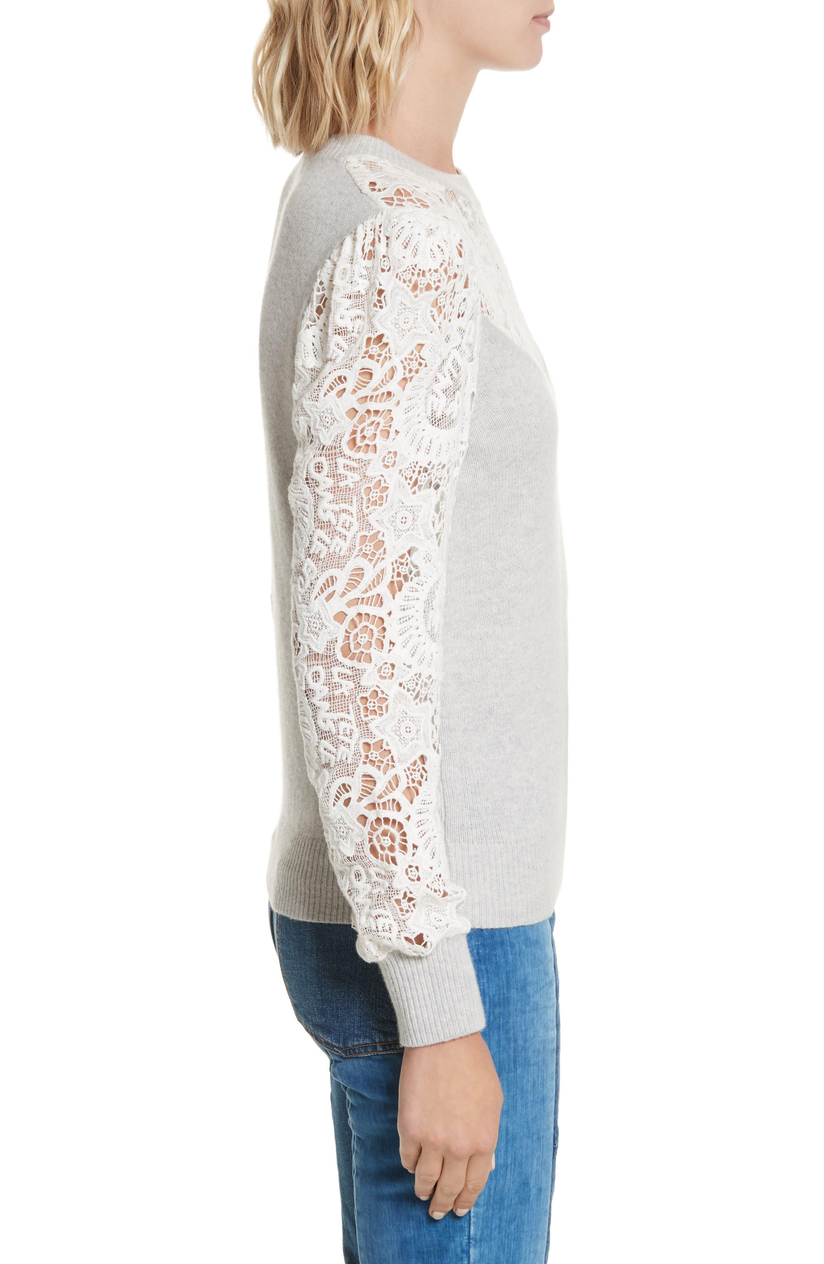 Lace Trim Knit Pullover,                             Alternate thumbnail 3, color,
