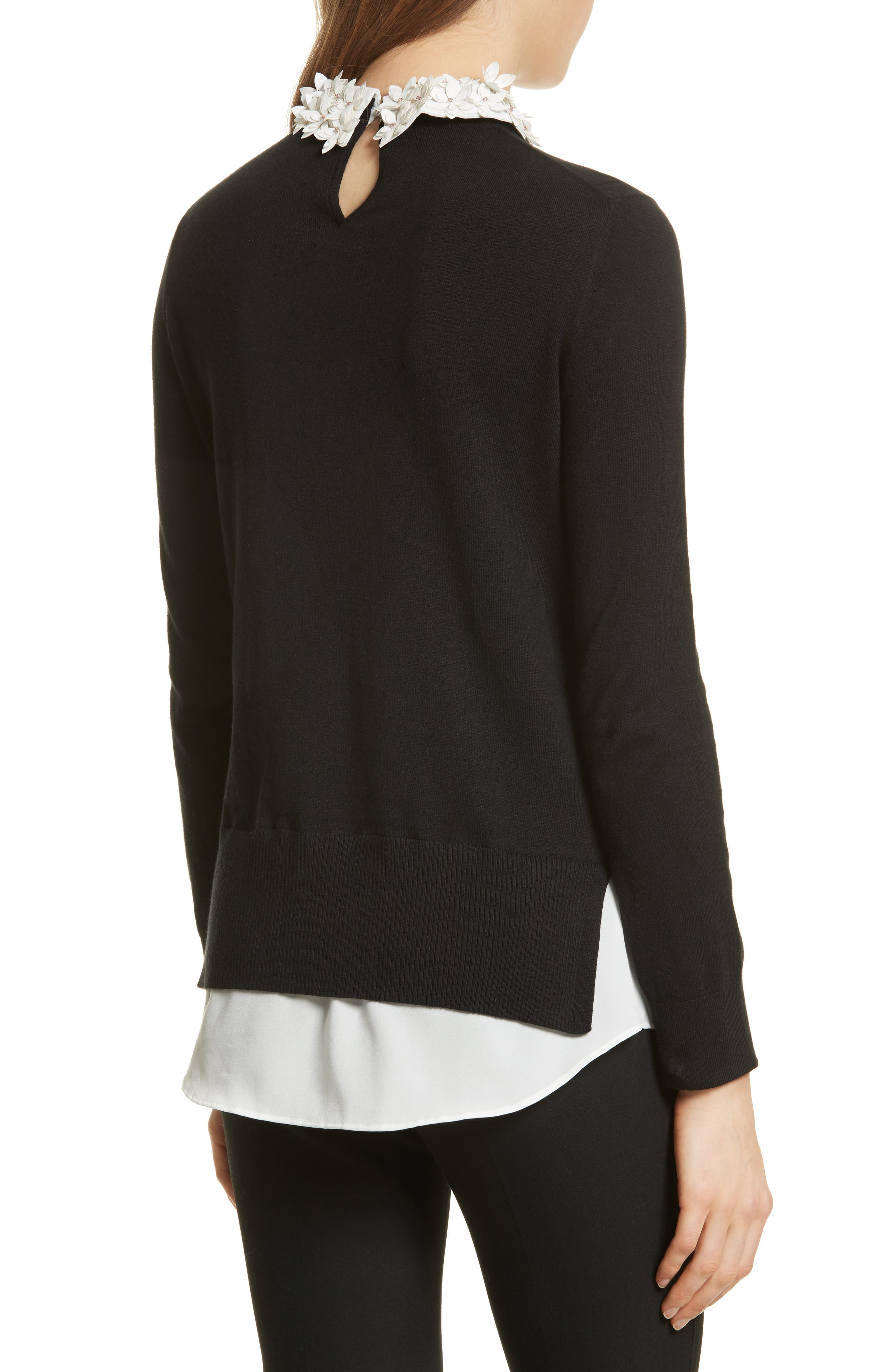 Floral Collar Sweater,                             Alternate thumbnail 2, color,