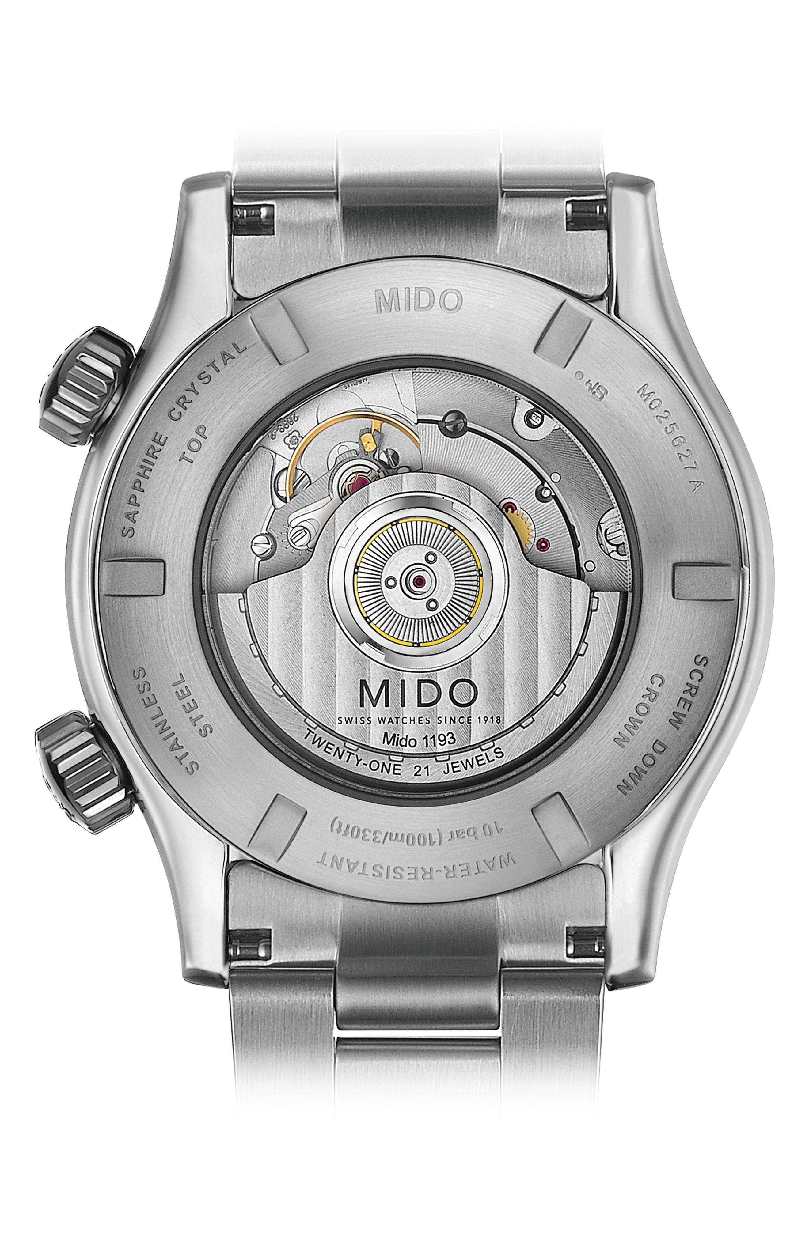 Multifort Automatic Bracelet Watch,                             Alternate thumbnail 2, color,                             SILVER/ BLACK/ SILVER