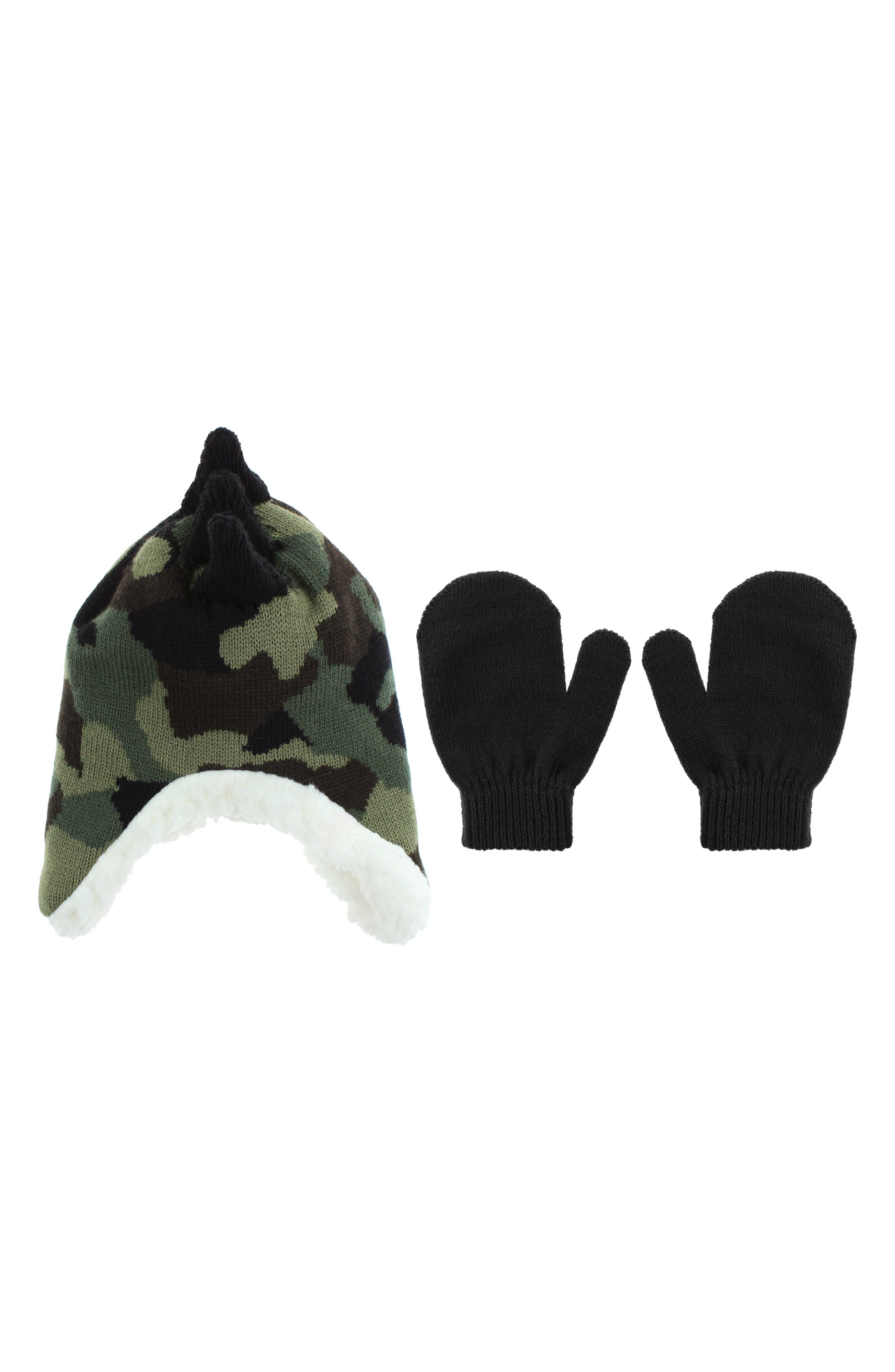 Toddler Boys Capelli New York Camo Dino Earflap Hat  Mittens Set  Black