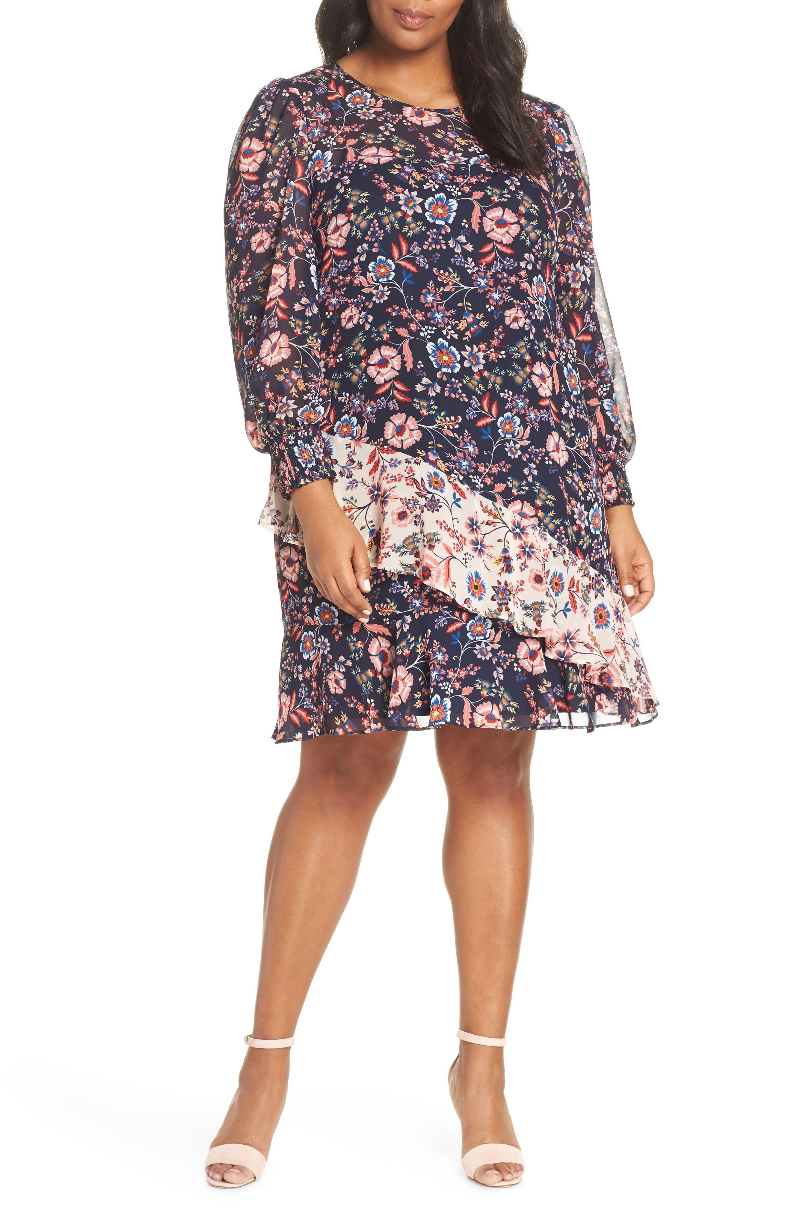 Plus Size Eliza J Floral Print Contrast Ruffle Detail Dress, Blue
