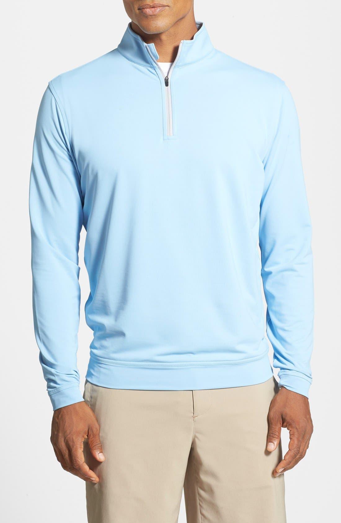 'Perth' Quarter Zip Pullover,                         Main,                         color, COTTAGE BLUE