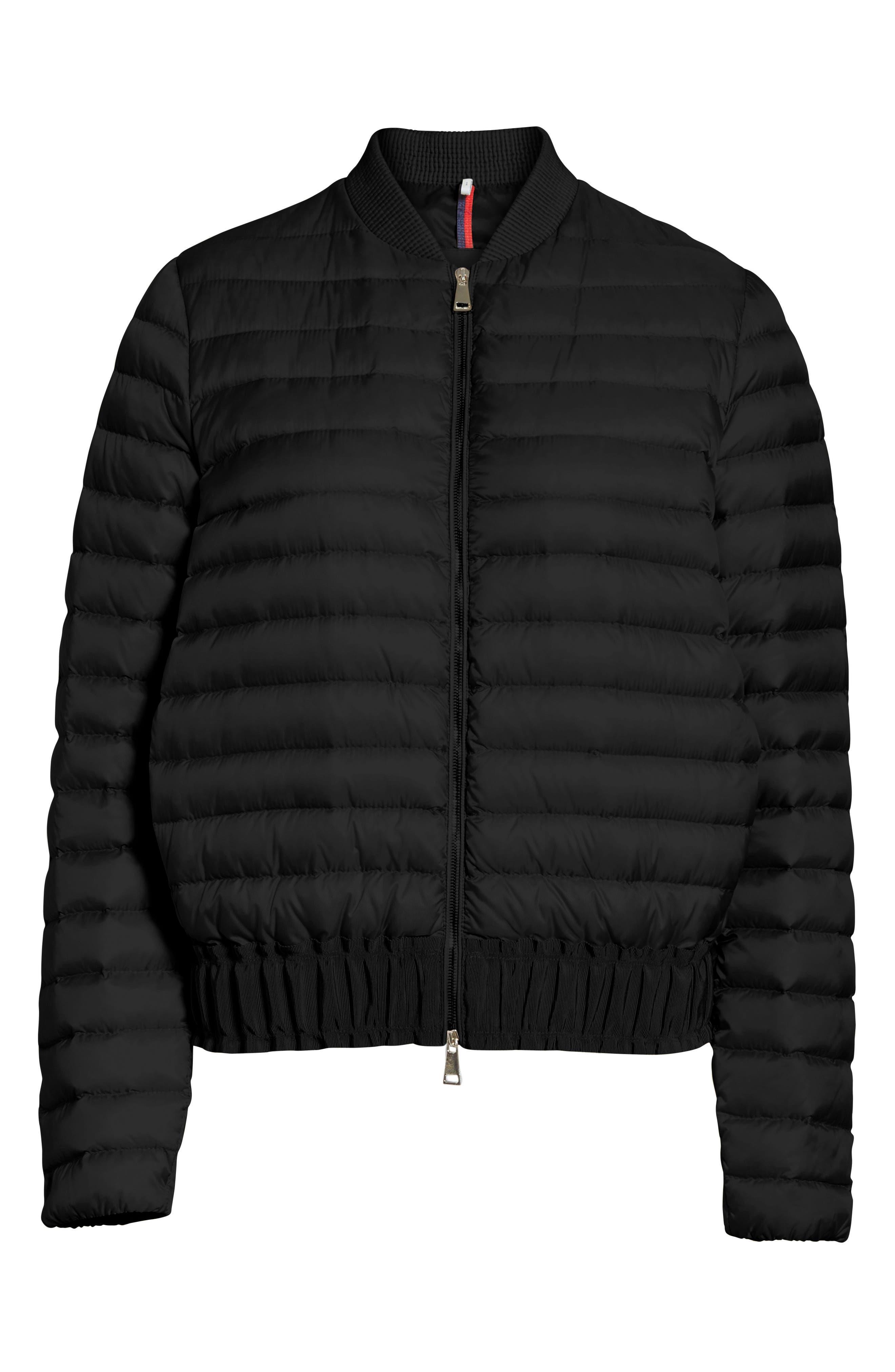 Barytine Quilted Bomber Jacket,                             Alternate thumbnail 5, color,                             BLACK