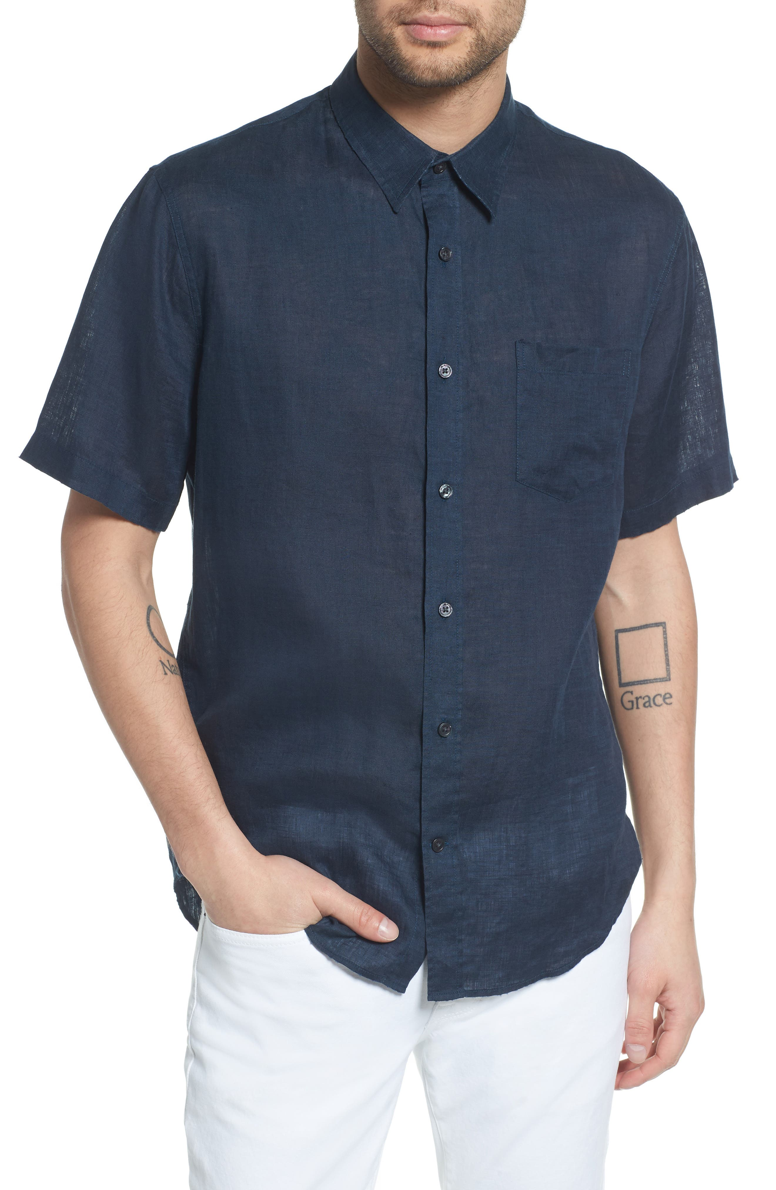 Classic Fit Washed Short Sleeve Sport Shirt,                         Main,                         color, 464