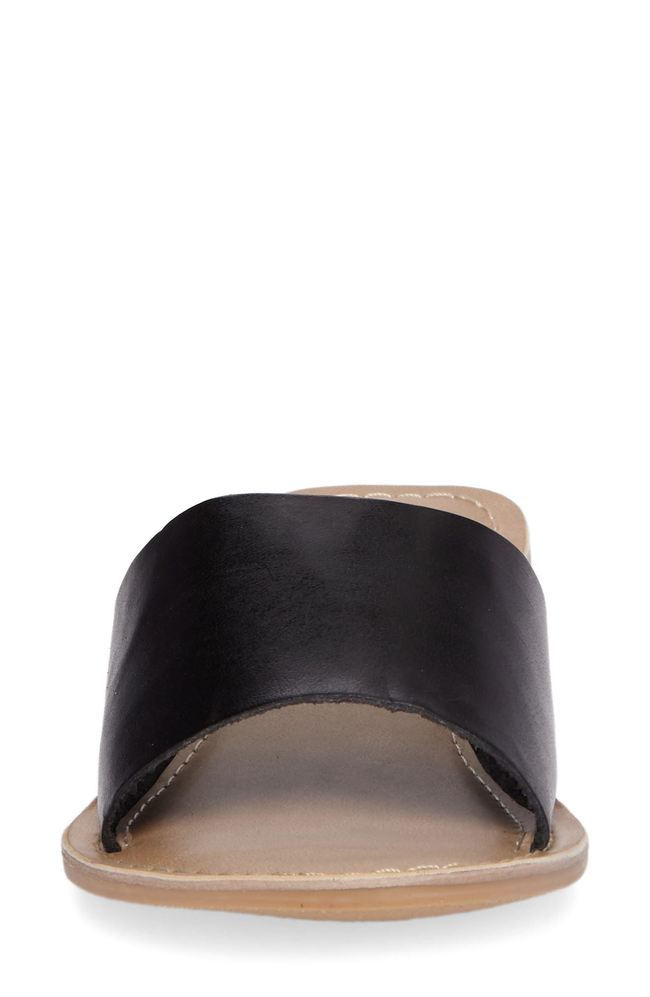 Cabana Slide Sandal,                             Alternate thumbnail 4, color,                             BLACK LEATHER