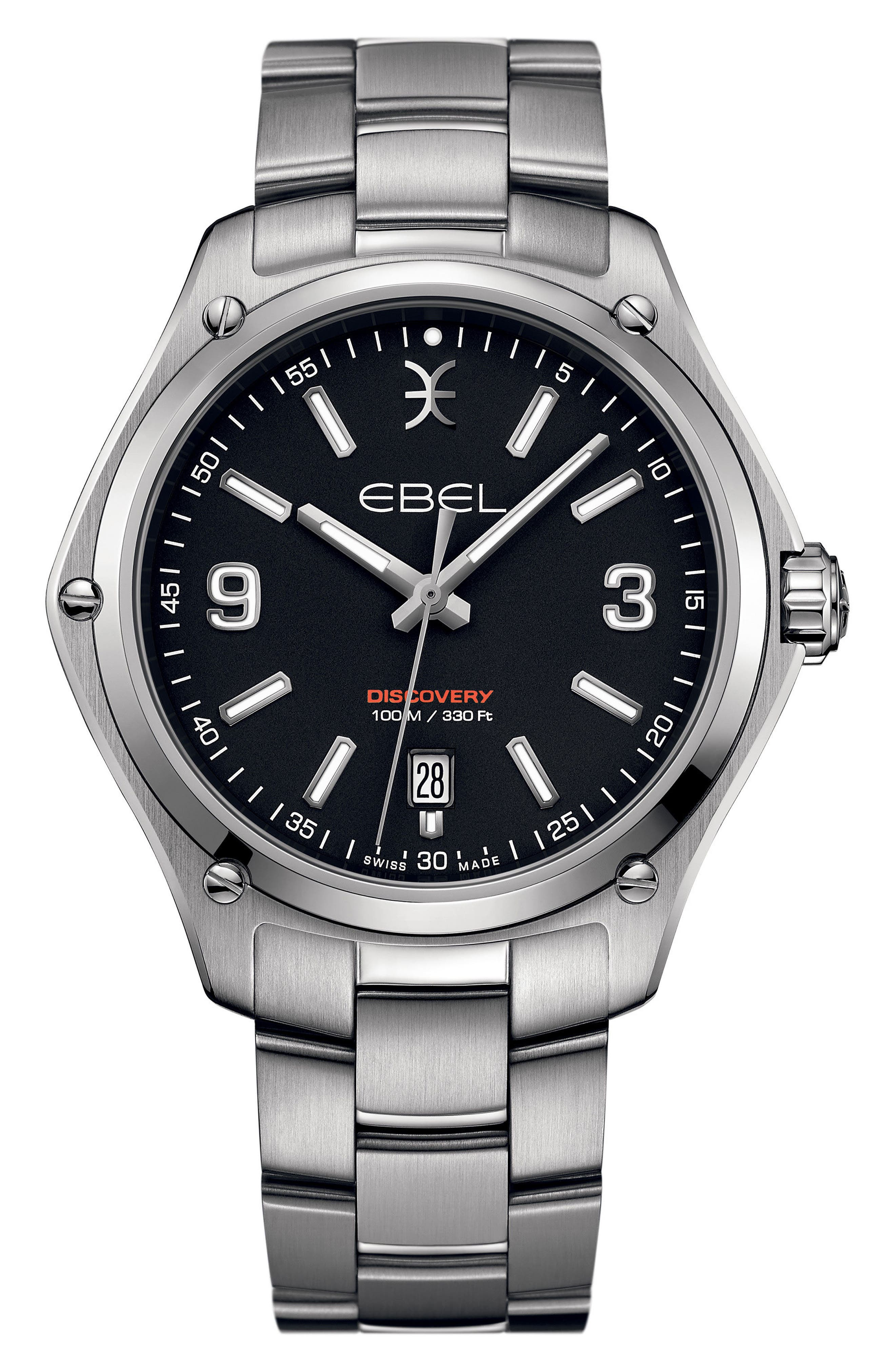 Discovery Bracelet Watch, 41mm,                         Main,                         color, SILVER/ BLACK/ SILVER