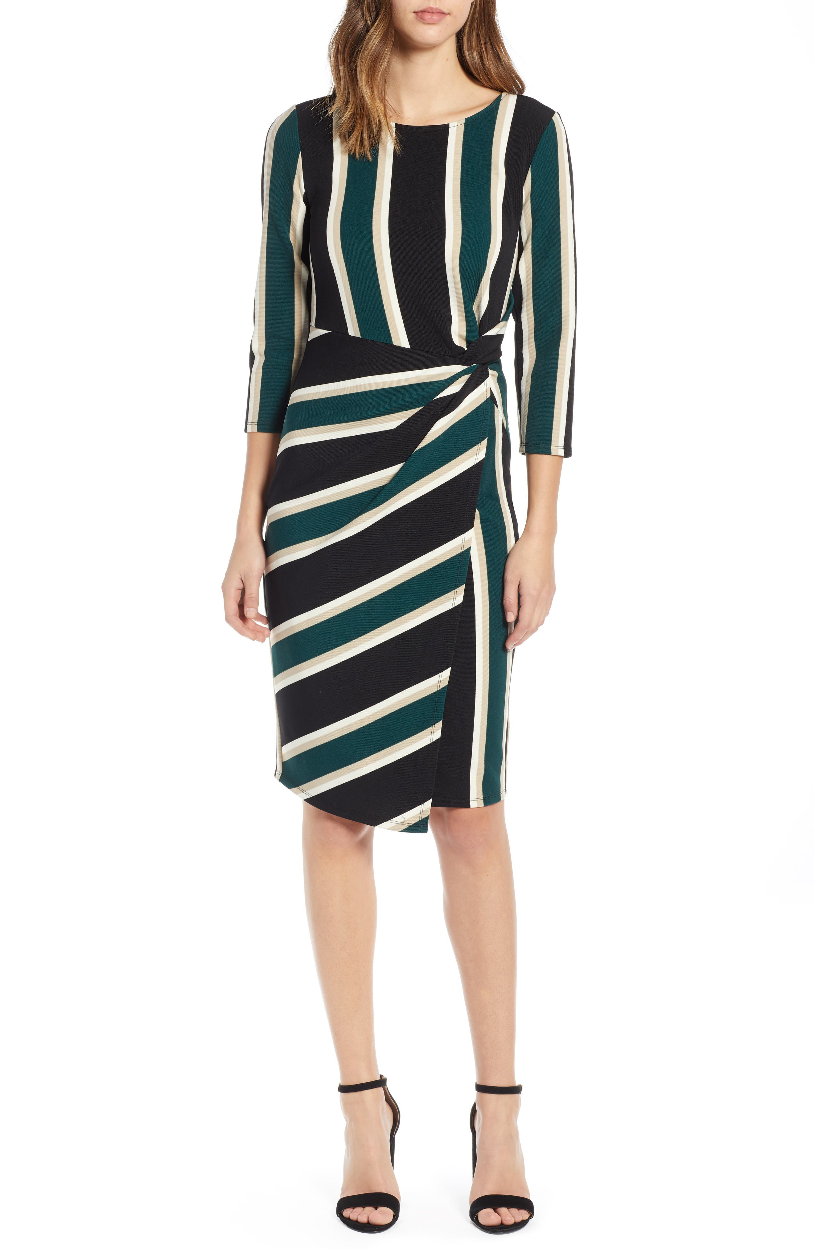 Socialite Side Twist Dress, Green