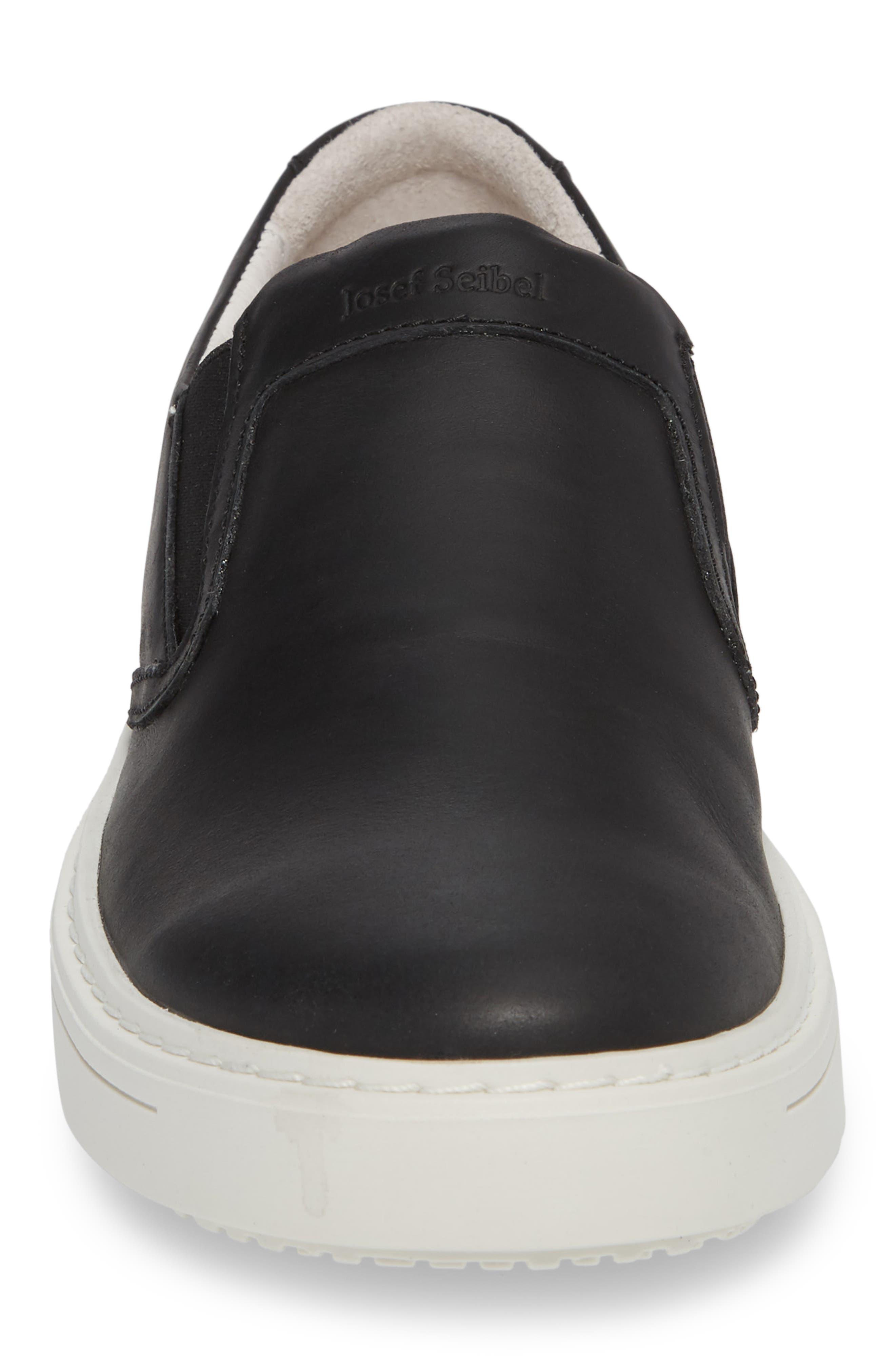 Quentin 15 Slip-On Sneaker,                             Alternate thumbnail 4, color,                             BLACK LEATHER