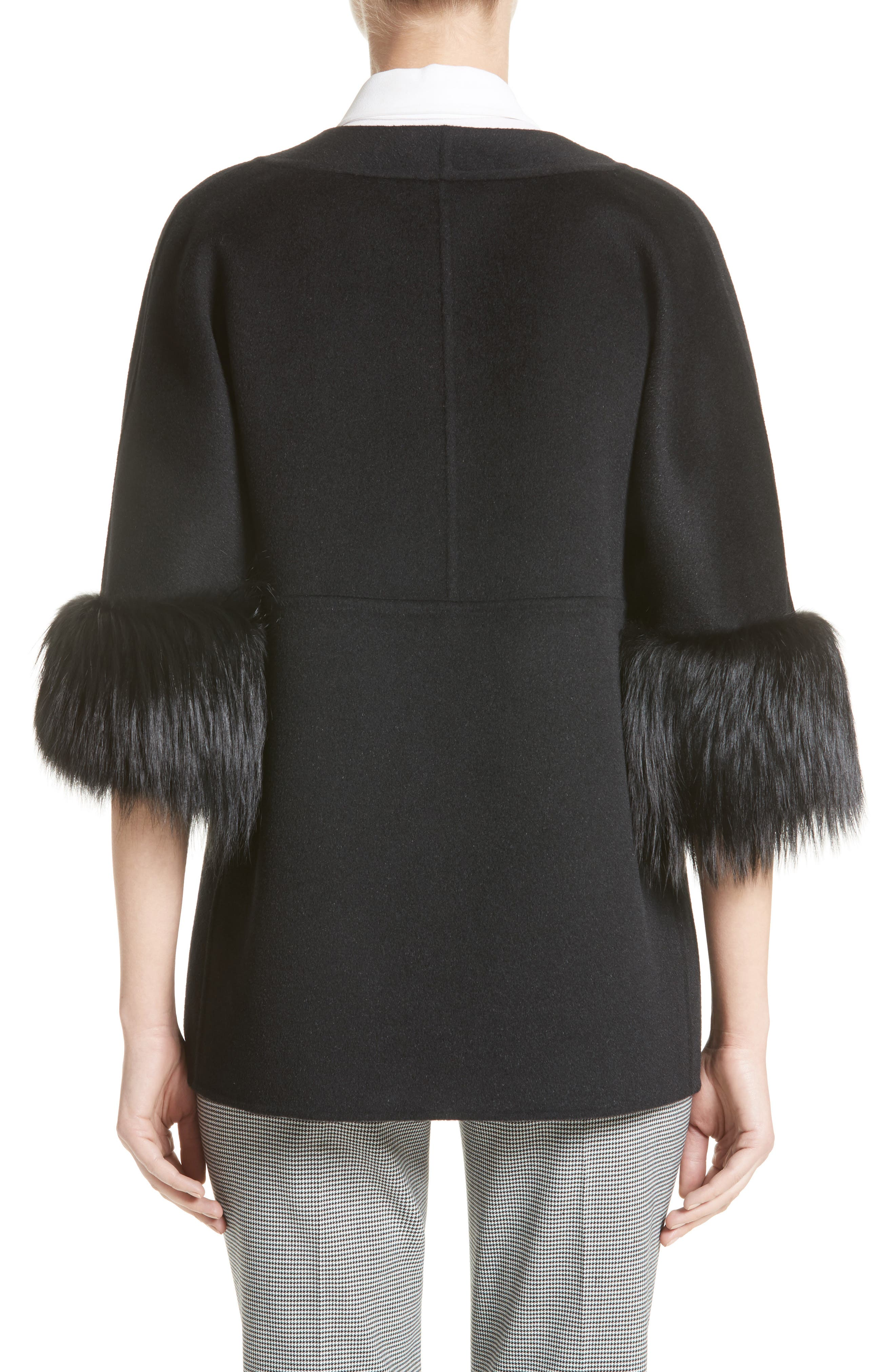 Genuine Fox Fur Trim Wool Blend Jacket,                             Alternate thumbnail 2, color,                             001