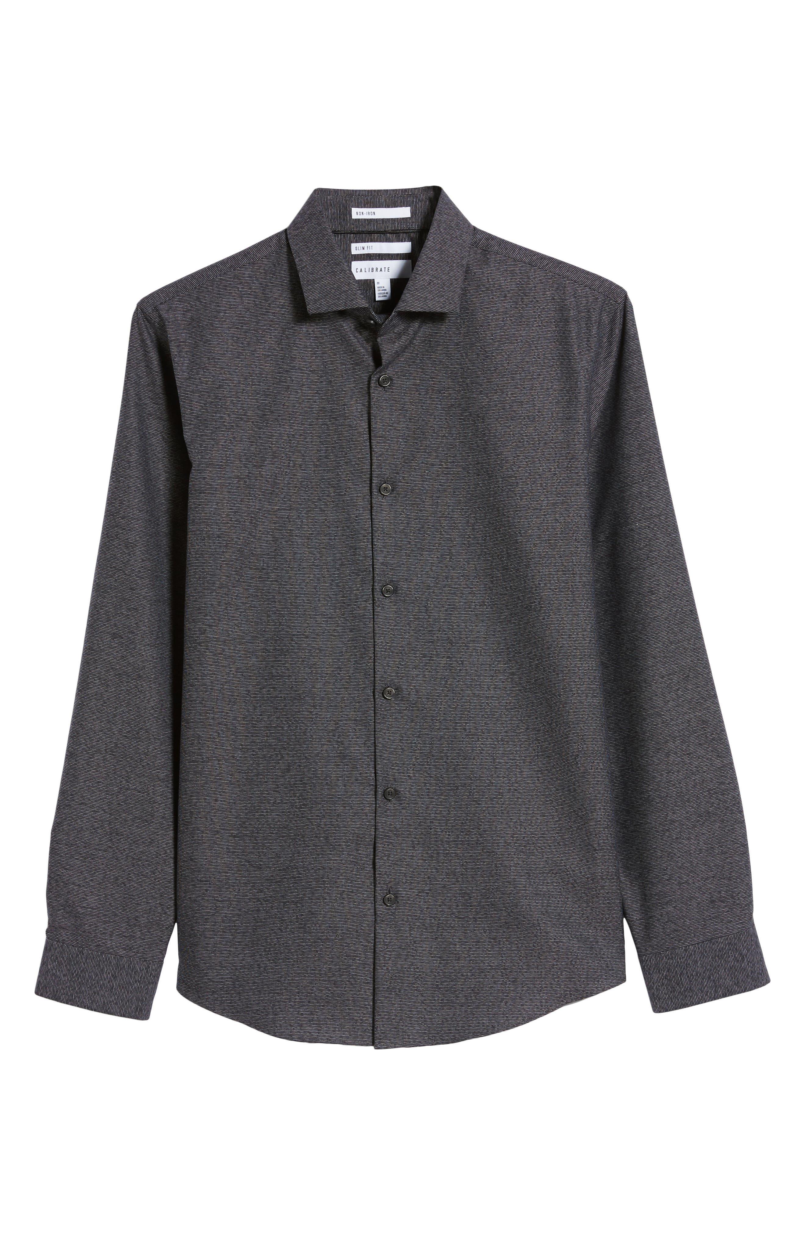 CALIBRATE,                             Slim Fit Non-Iron Textured Sport Shirt,                             Alternate thumbnail 5, color,                             001