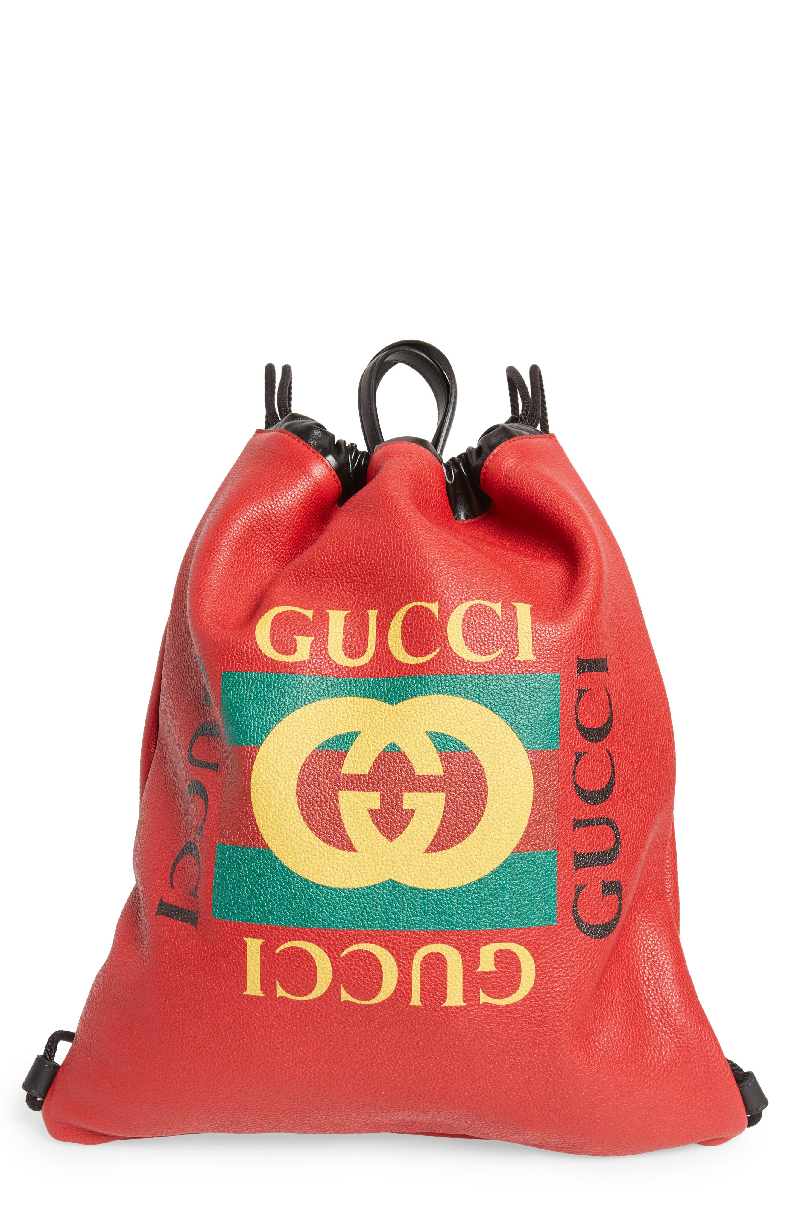 GUCCI,                             Logo Drawstring Leather Backpack,                             Main thumbnail 1, color,                             HIBISCUS RED/ NERO/ VERT