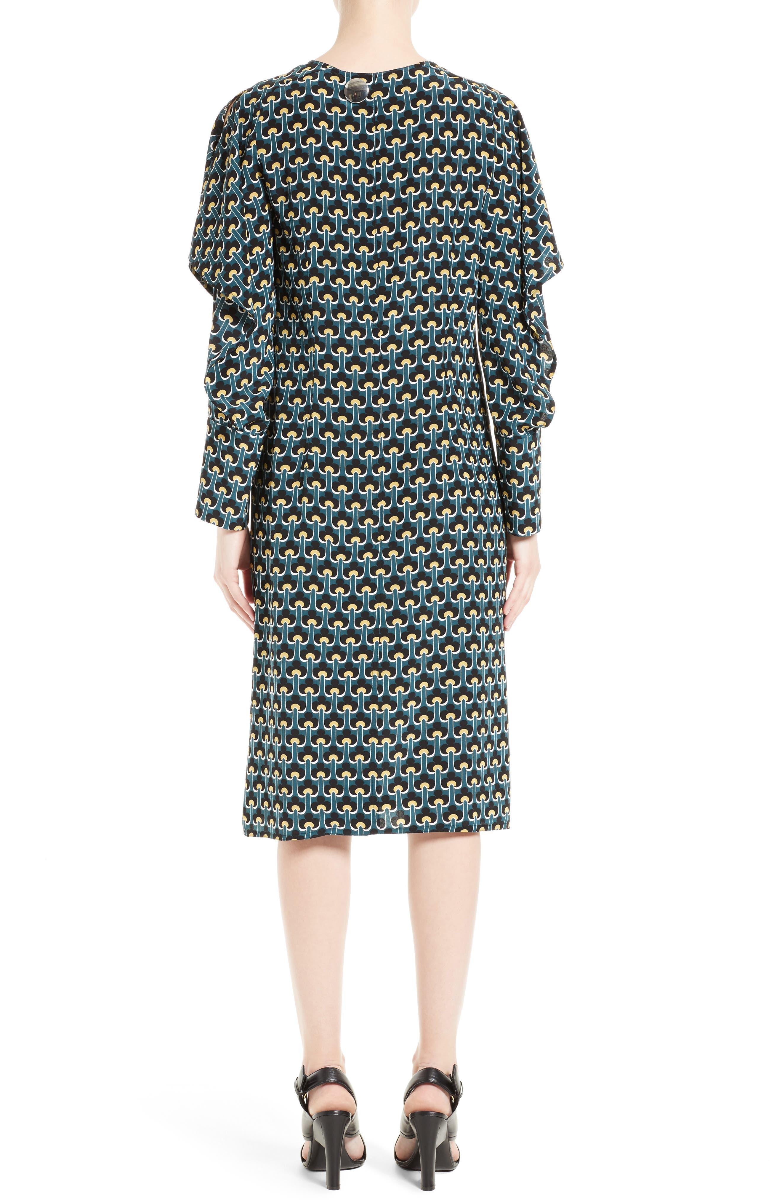 Print Silk Cold Shoulder Dress,                             Alternate thumbnail 2, color,                             400