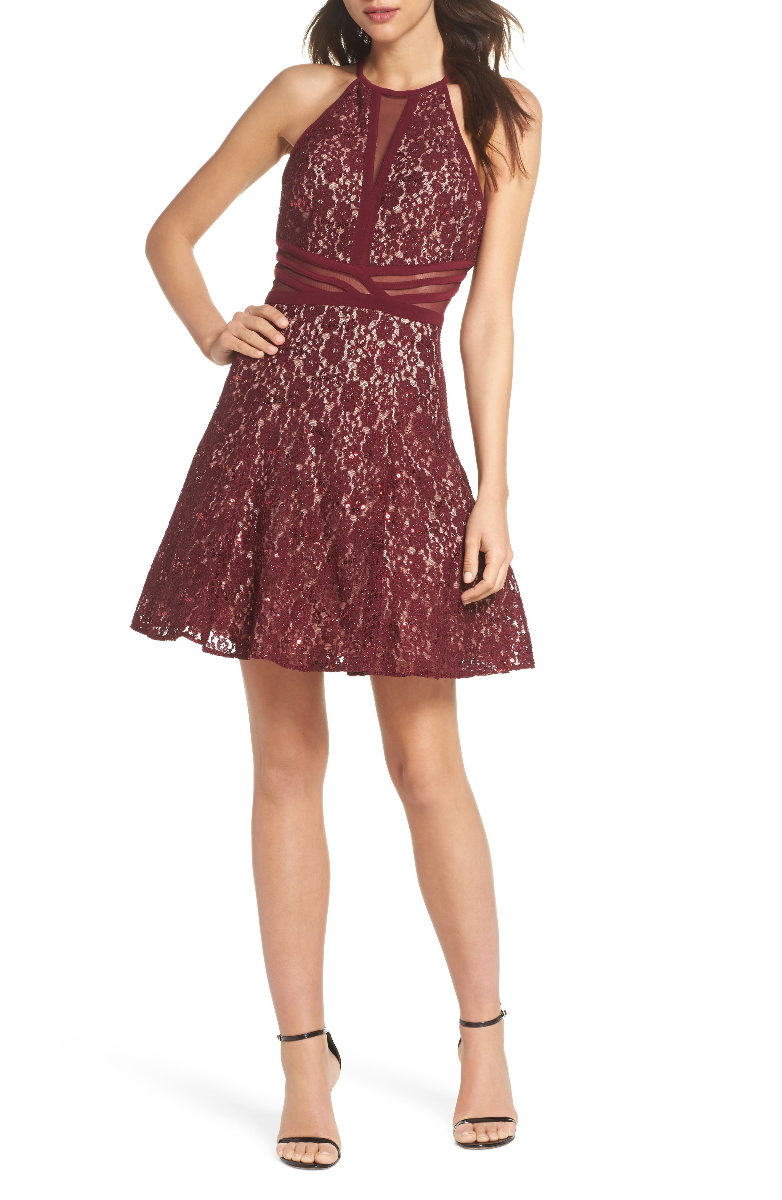 Morgan & Co. Sheer Inset Lace Fit & Flare Dress, /4 - Burgundy