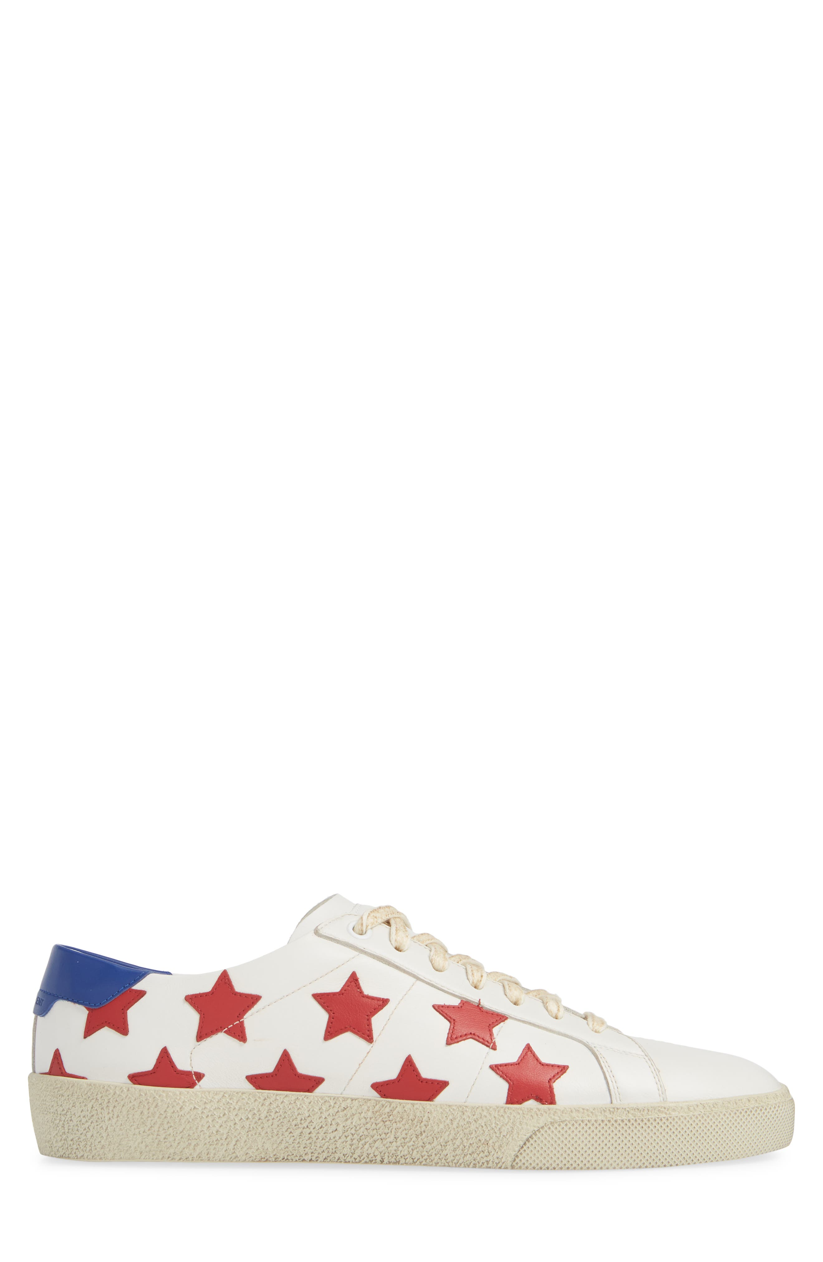 SAINT LAURENT,                             Star Low-Top Sneaker,                             Alternate thumbnail 3, color,                             WHITE/ MULTI