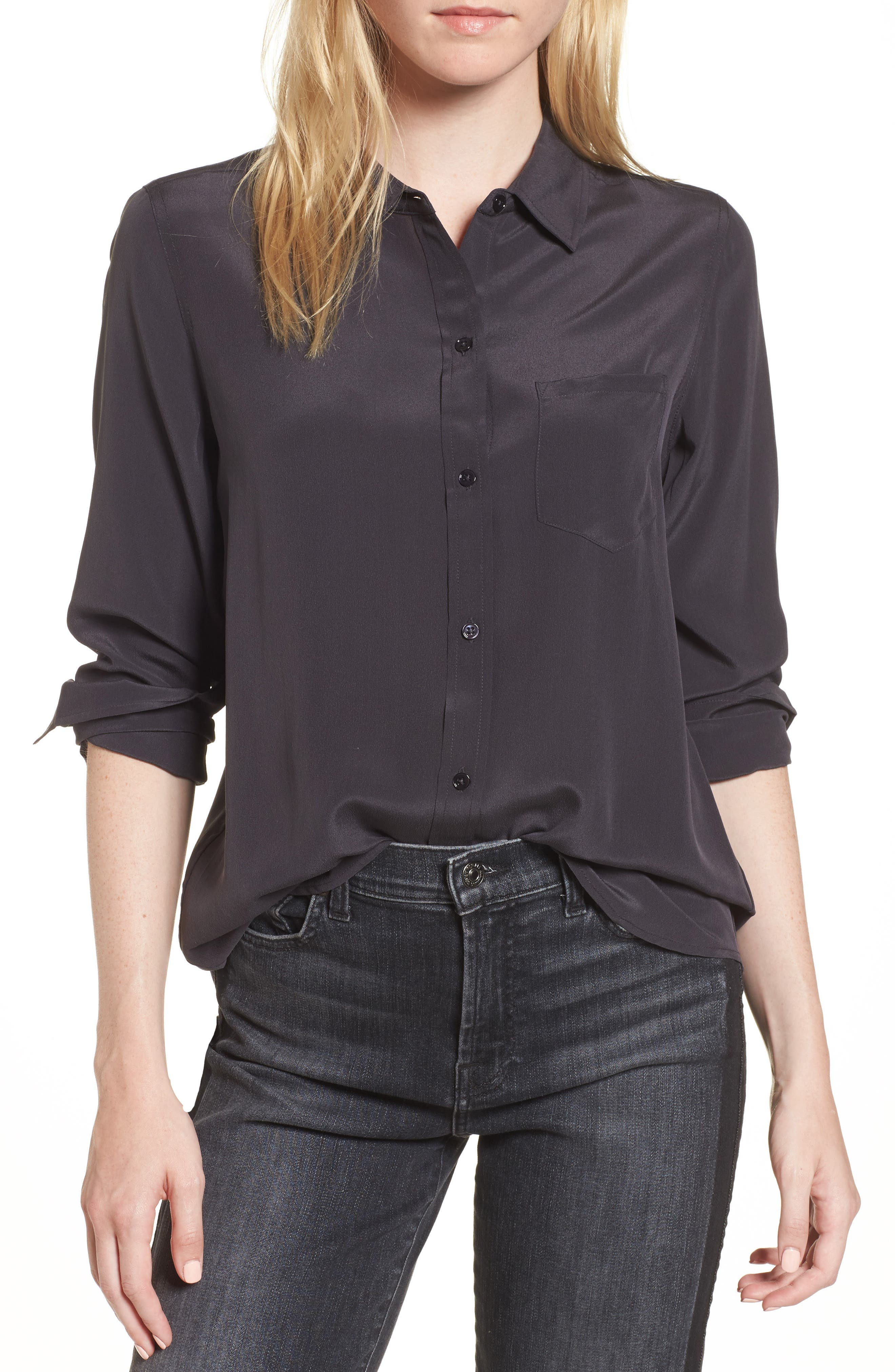 Kate Silk Shirt,                         Main,                         color, CHARCOAL