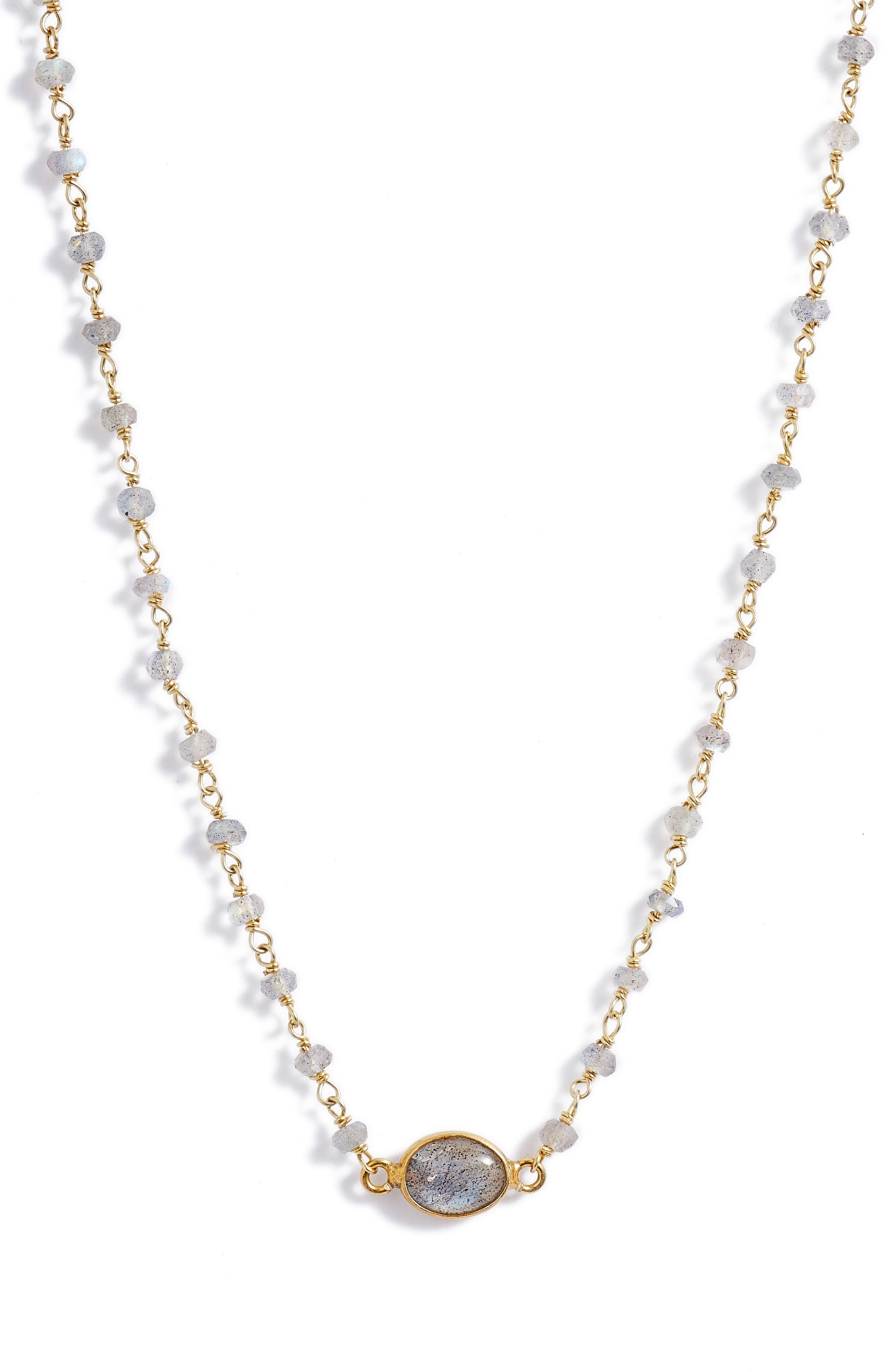 Libi Semiprecious Stone Collar Necklace,                             Main thumbnail 1, color,                             LABRADORITE