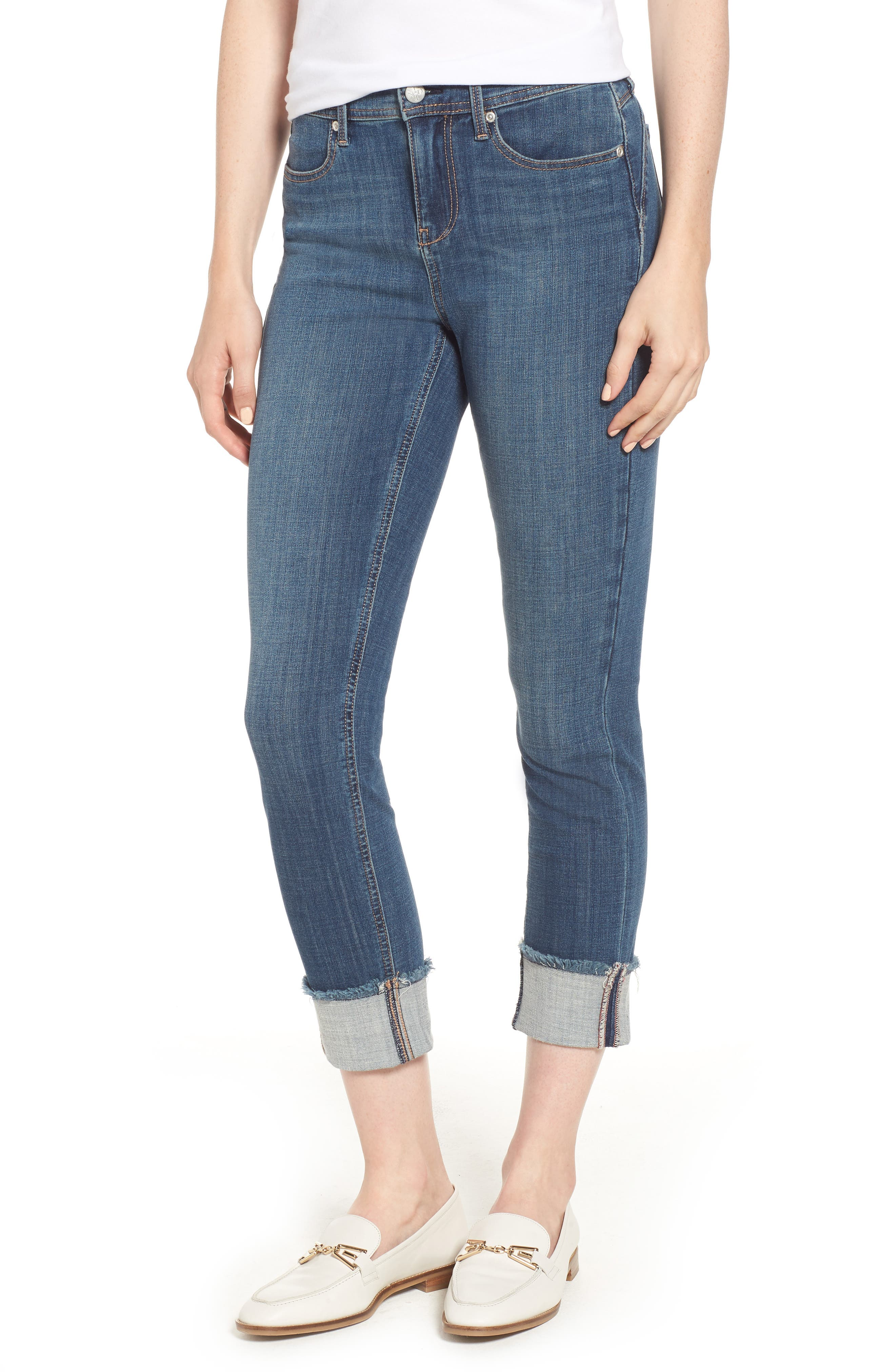 CURVES 360 BY NYDJ Boost Raw Cuff Skinny Jeans, Main, color, 452