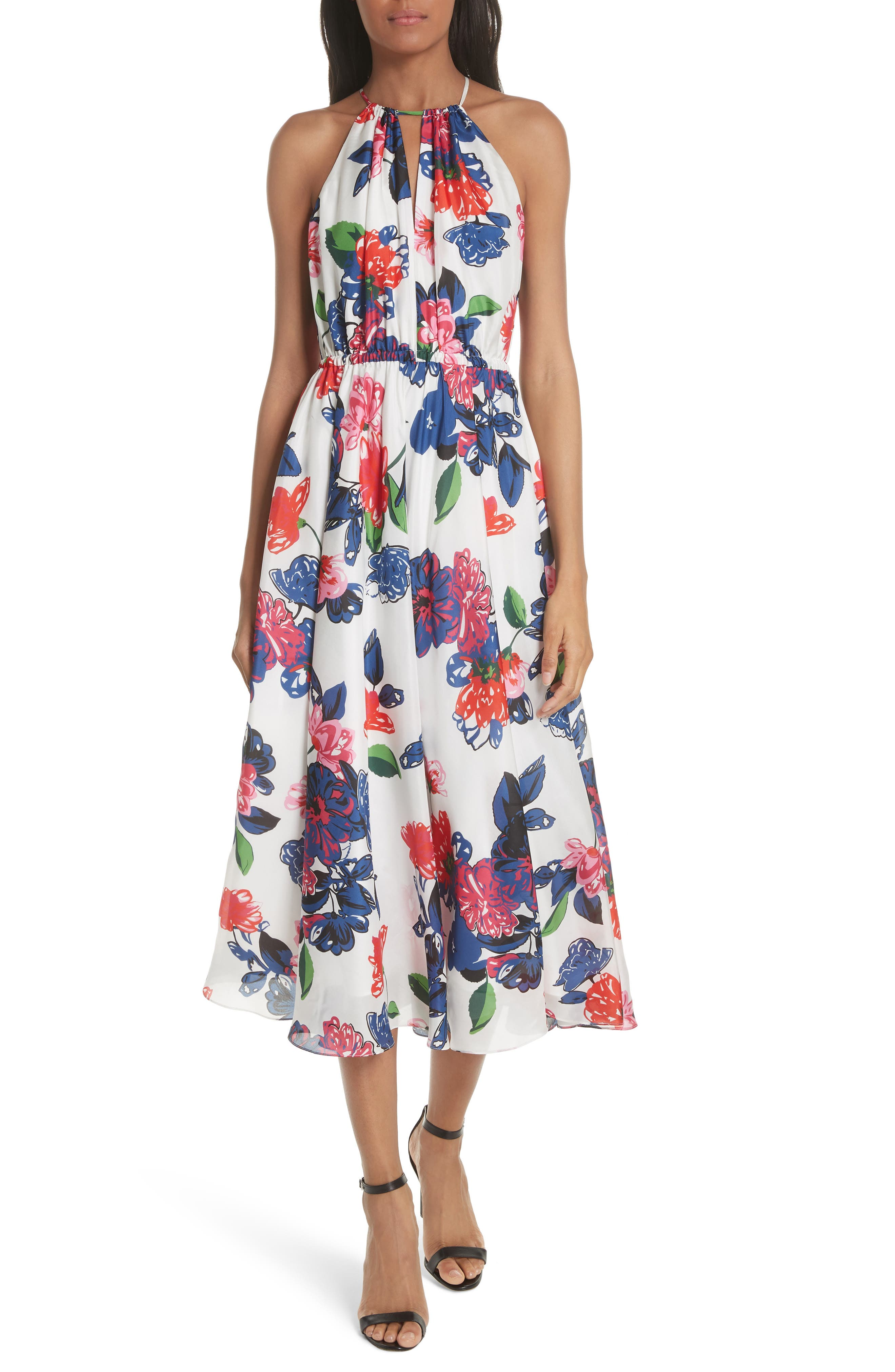 Floral Print Double Keyhole Silk Dress,                         Main,                         color, MULTI