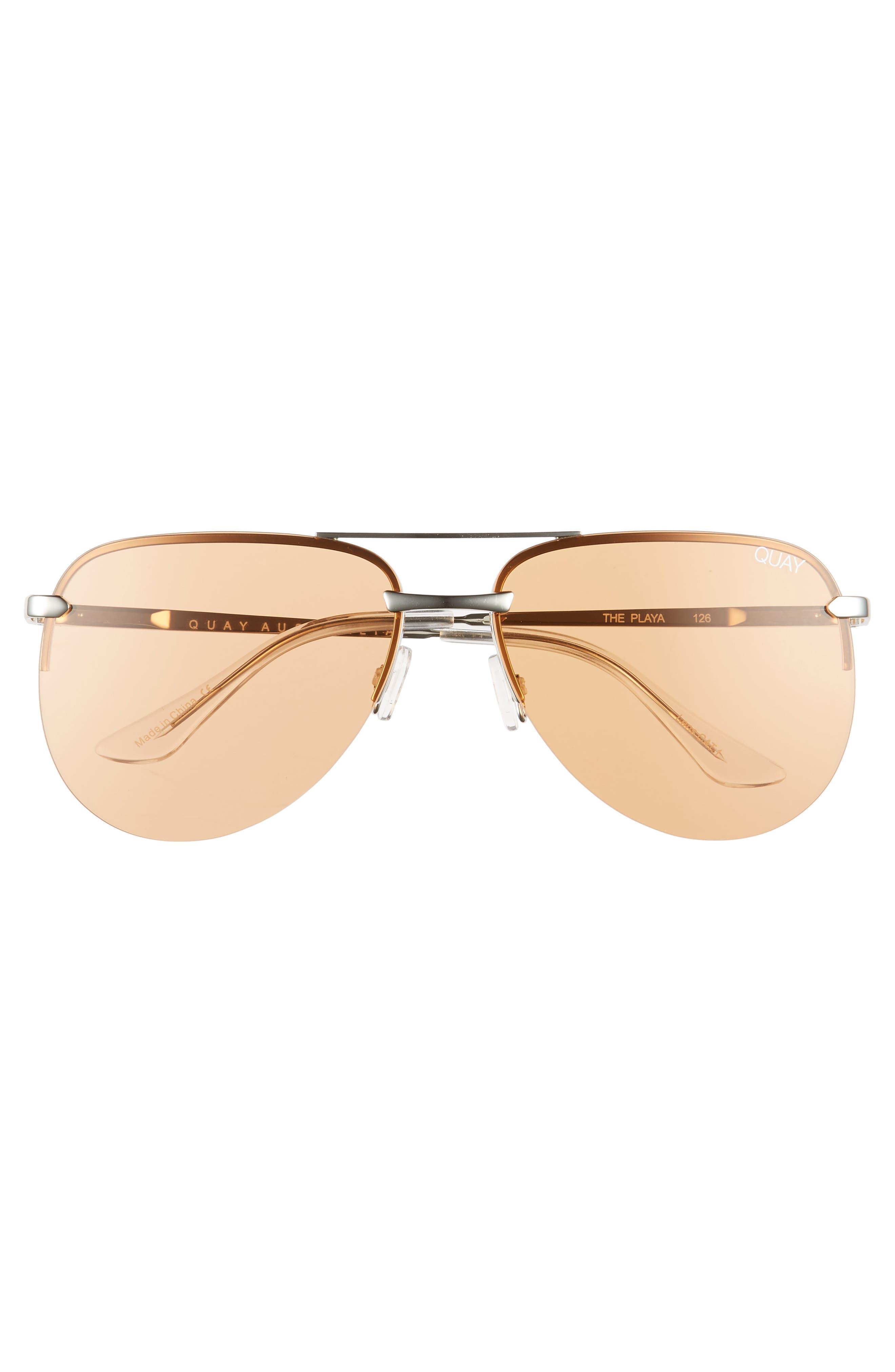 The Playa 64mm Aviator Sunglasses,                             Alternate thumbnail 3, color,                             SILVER/ORANGE