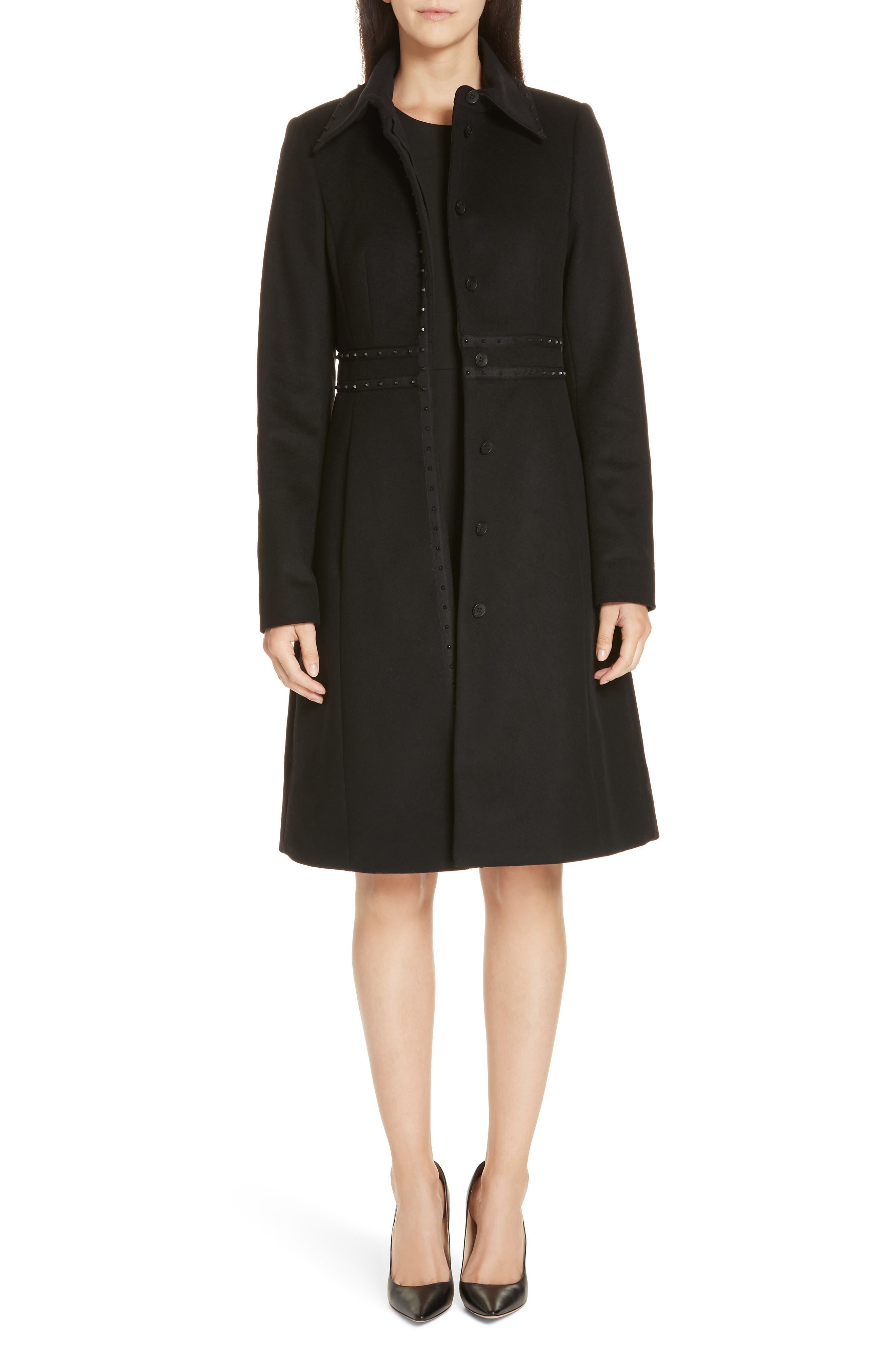 Wool & Cashmere Coat,                             Main thumbnail 1, color,                             BLACK
