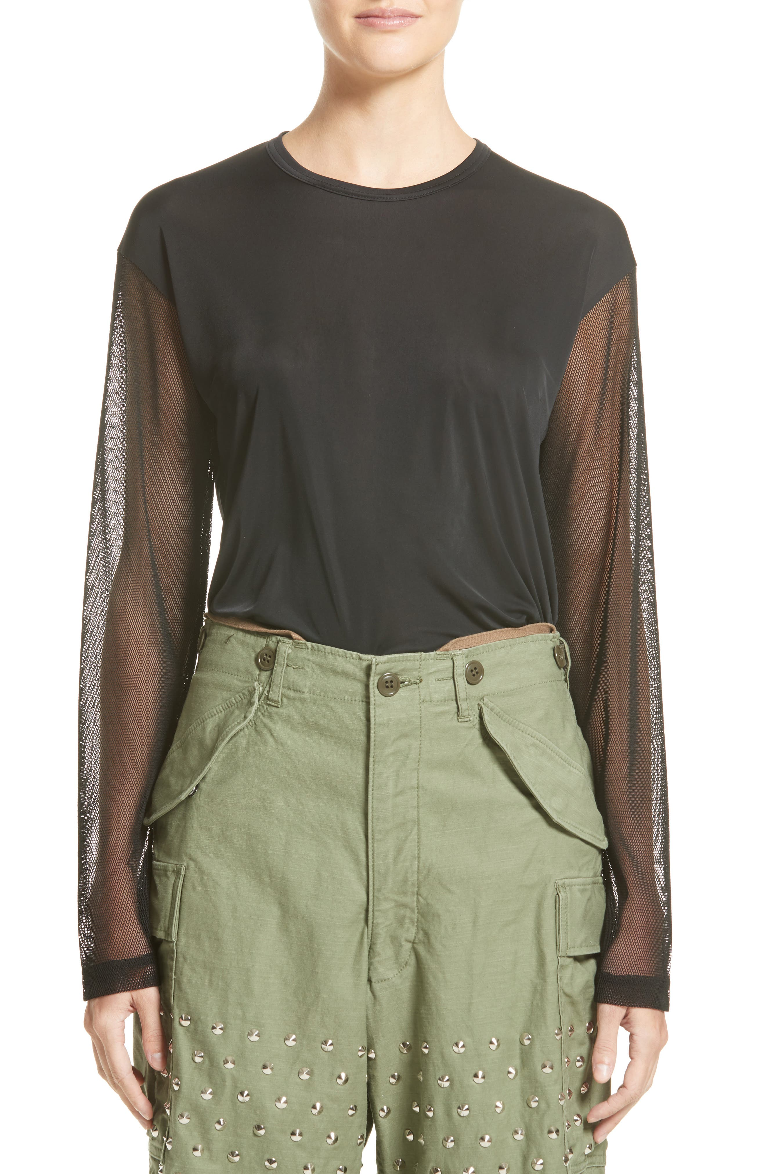 Mesh Sleeve Top,                         Main,                         color, 001