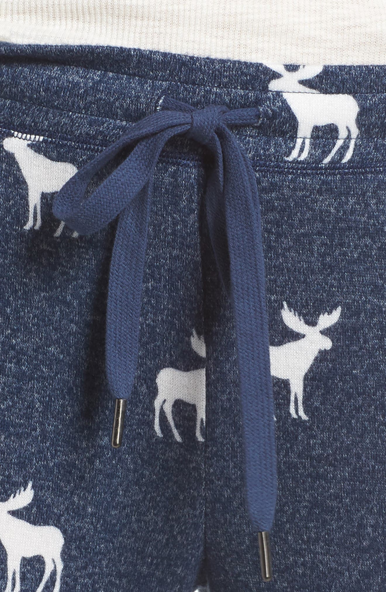 Moose Print Banded Pajama Pants,                             Alternate thumbnail 4, color,                             410