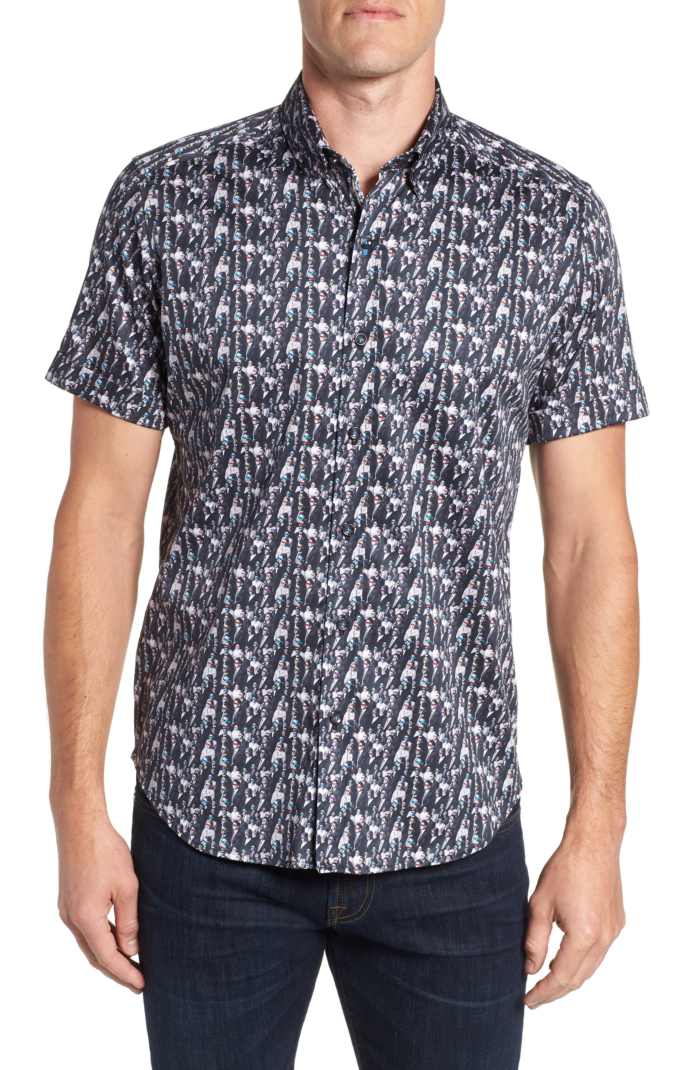 ROBERT GRAHAM,                             Cinema Tailored Fit Sport Shirt,                             Main thumbnail 1, color,                             001
