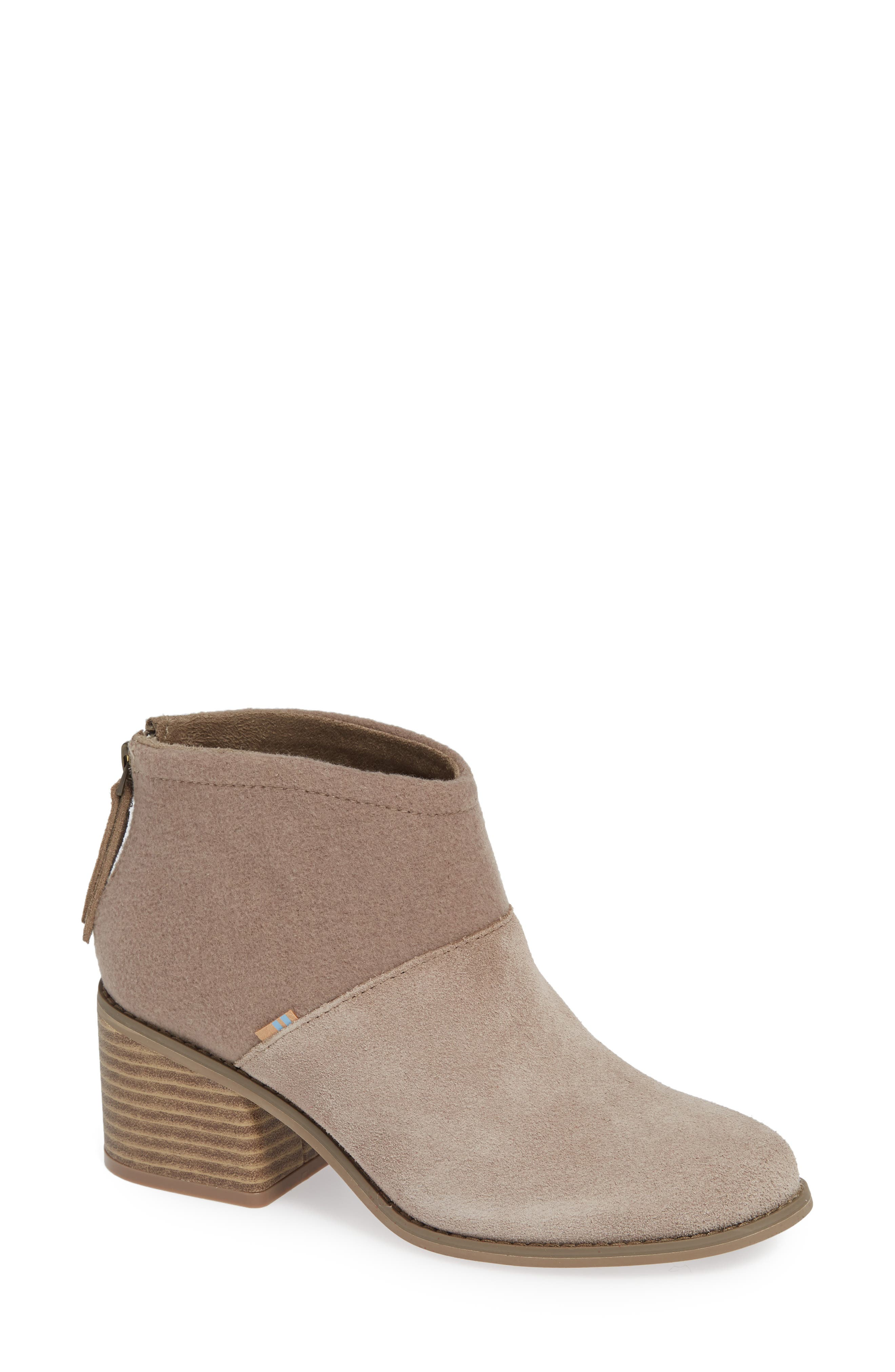 TOMS Women'S Lacy Round Toe Suede Bootie in Desert Taupe Suede