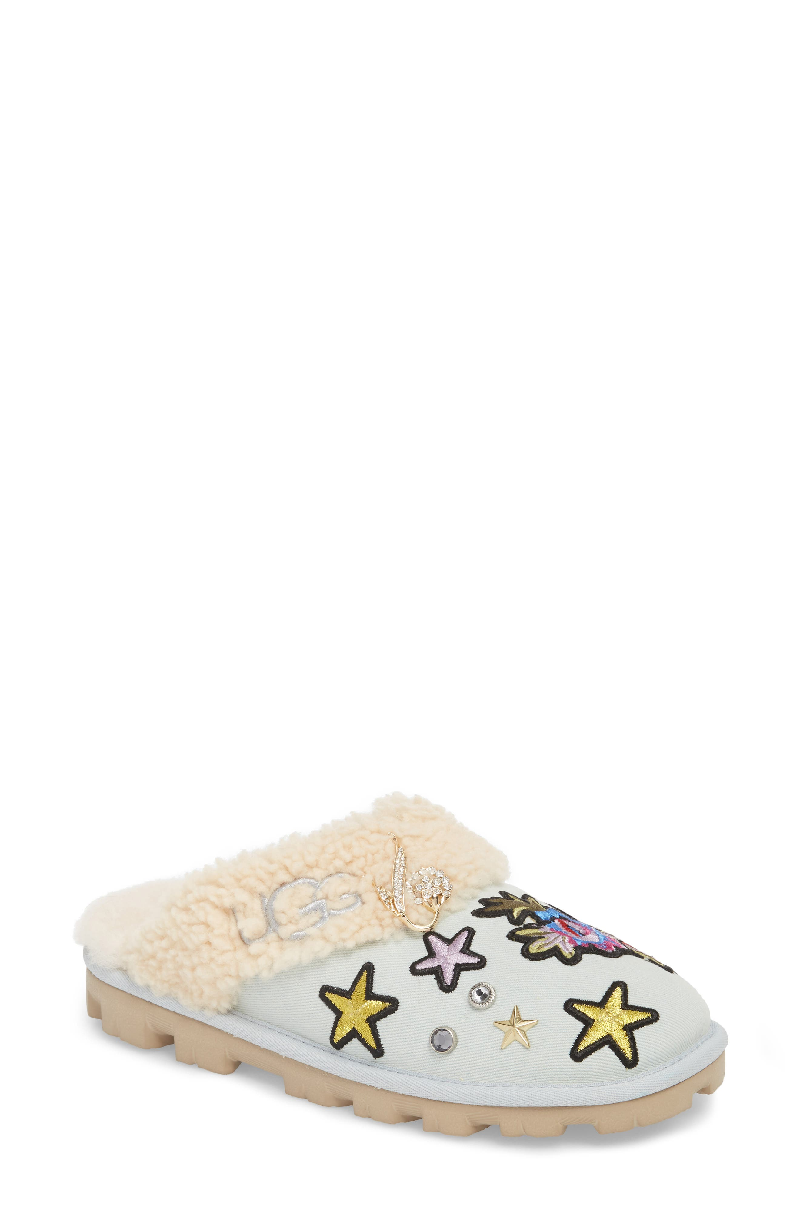 Patch It Slipper with Genuine Shearling Trim,                             Main thumbnail 1, color,                             452