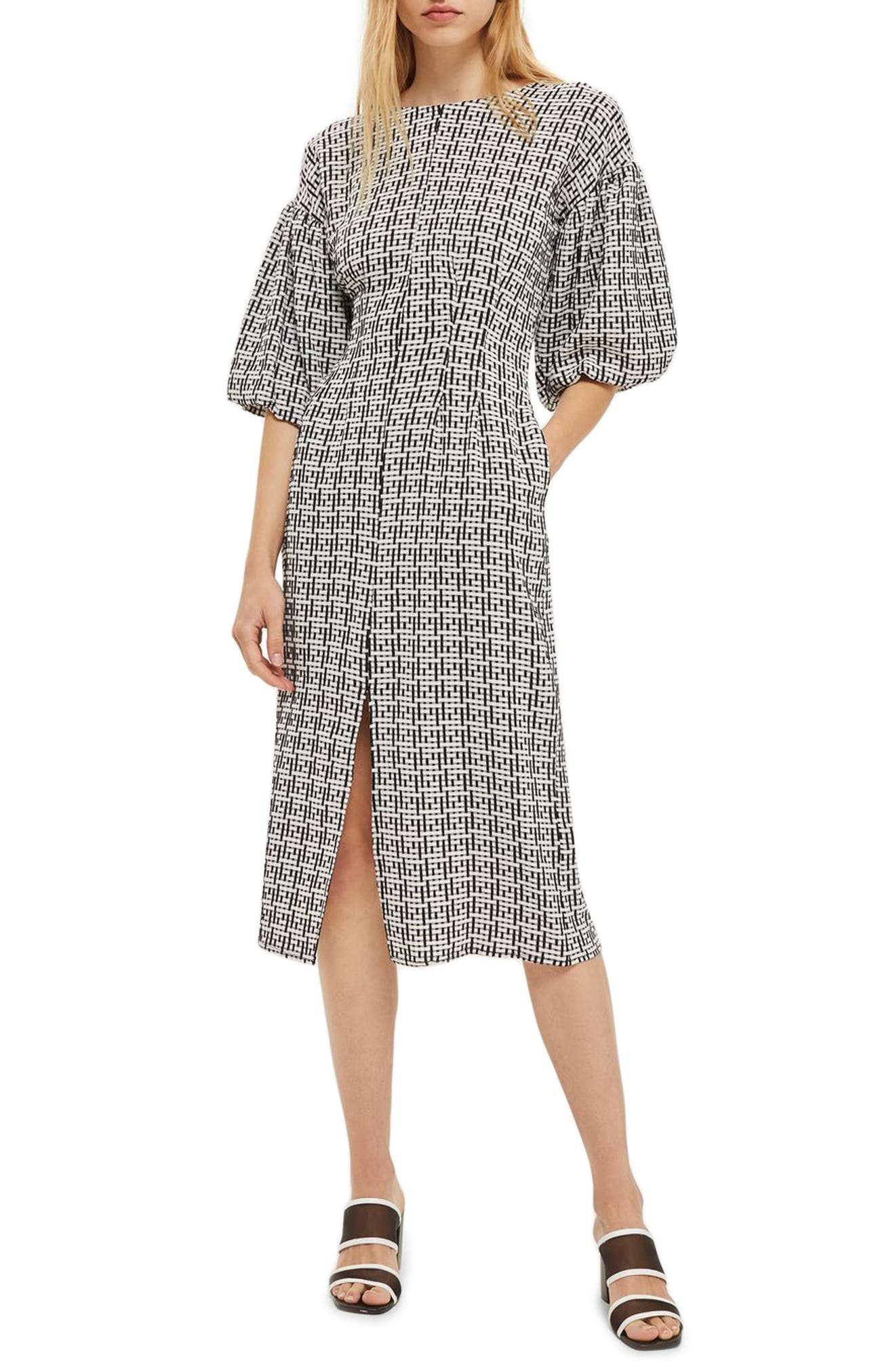 Puff Sleeve Sheath Dress,                             Main thumbnail 1, color,                             001