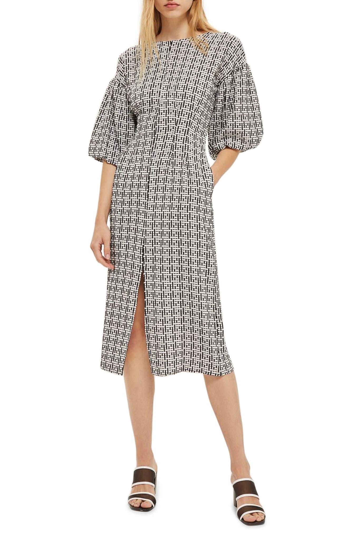 Puff Sleeve Sheath Dress,                         Main,                         color, 001