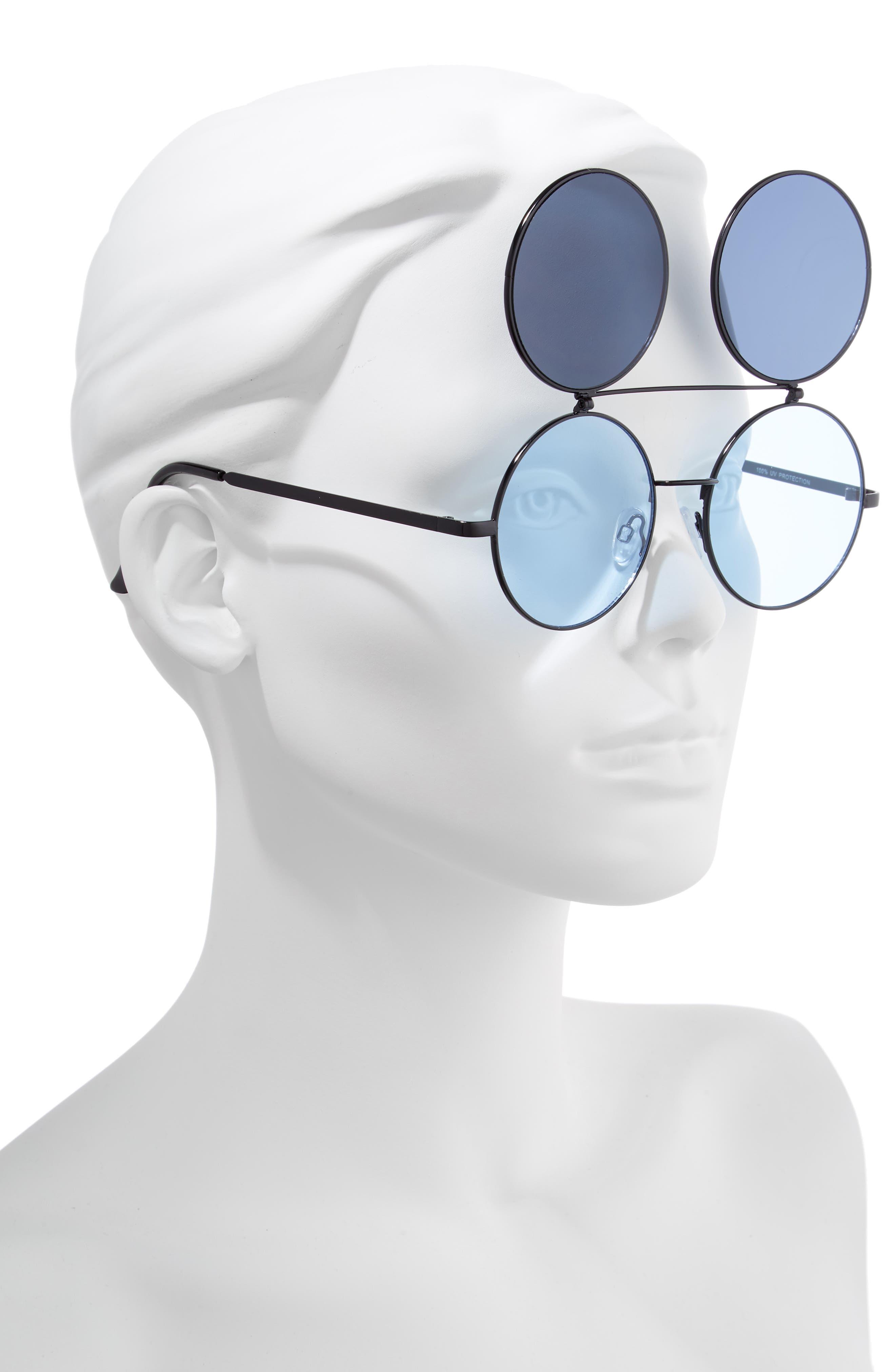 50mm Round Flip-Up Sunglasses,                             Alternate thumbnail 2, color,                             BLACK/ BLUE