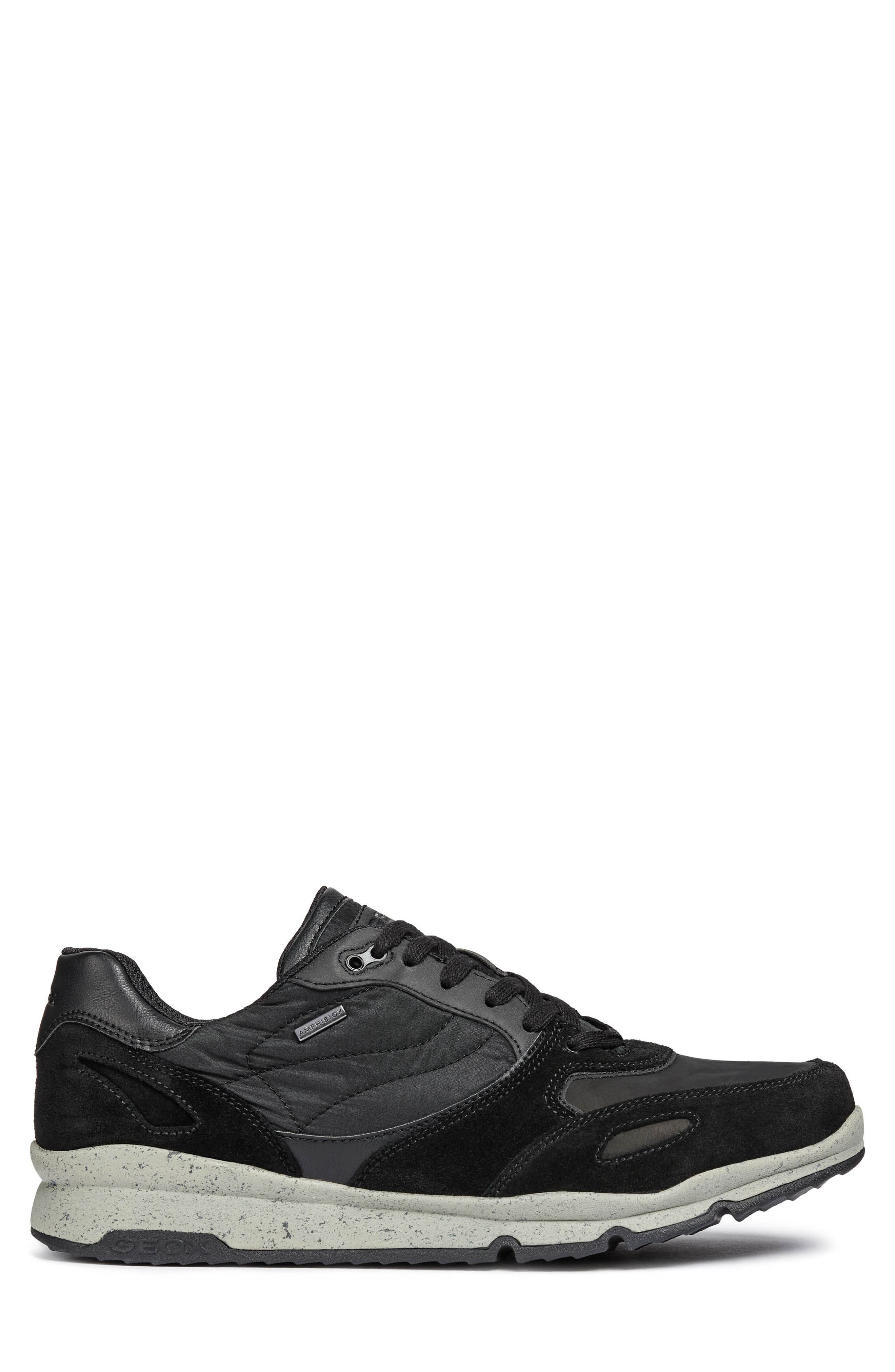 Sandro ABX Ambphibiox Waterproof Sneaker,                             Alternate thumbnail 3, color,                             BLACK/ BLACK LEATHER