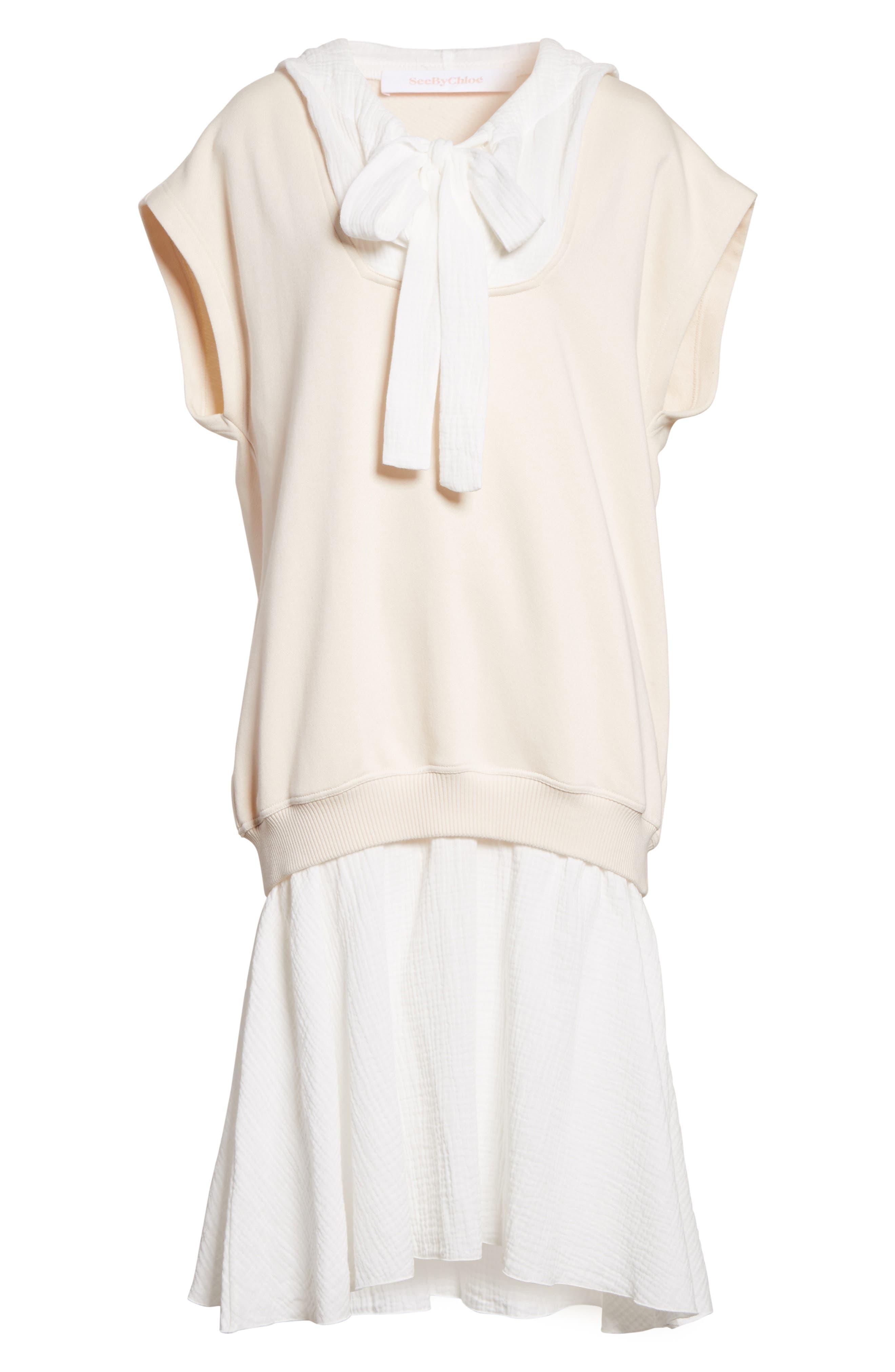 Hooded Sweatshirt Overlay Dress,                             Alternate thumbnail 6, color,                             170