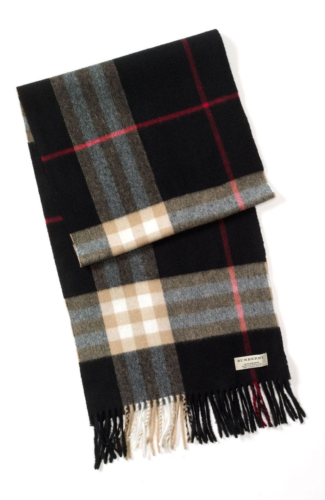 Heritage Check Cashmere Scarf,                             Main thumbnail 1, color,
