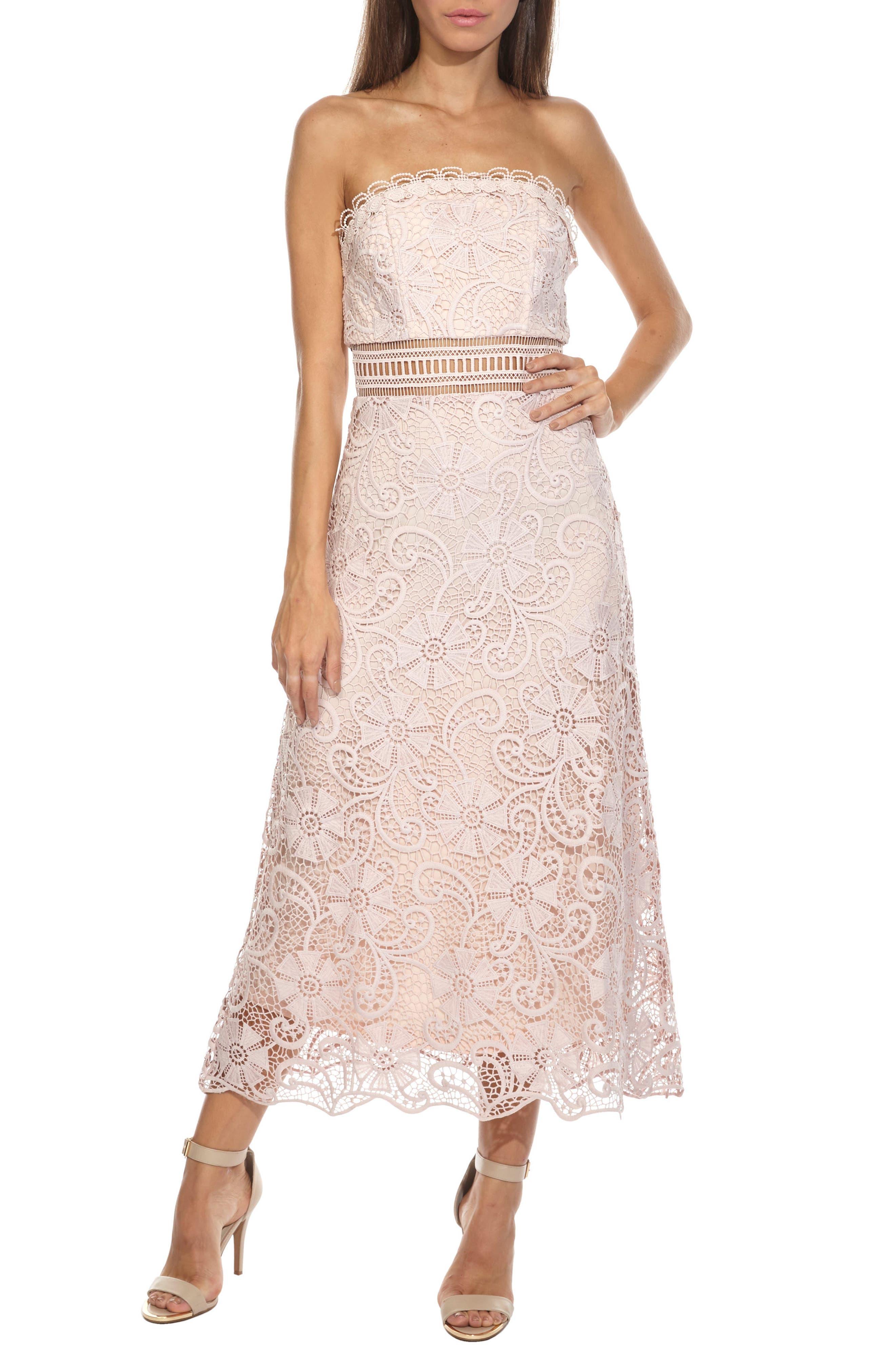 Yani Lace Strapless Midi Dress,                             Main thumbnail 1, color,                             PINK