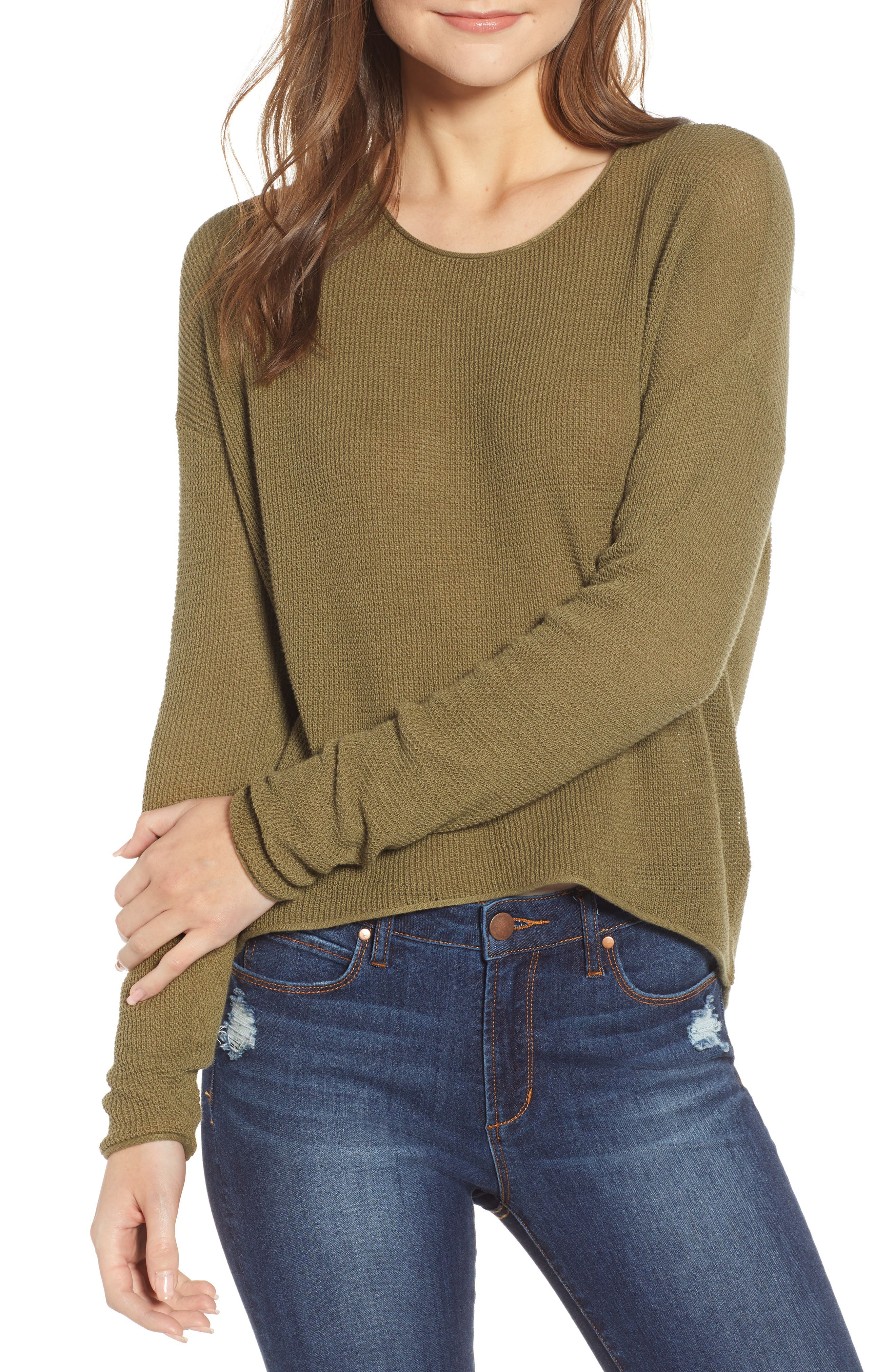 Coastal Thermal Sweater, Main, color, OLIVE BURNT