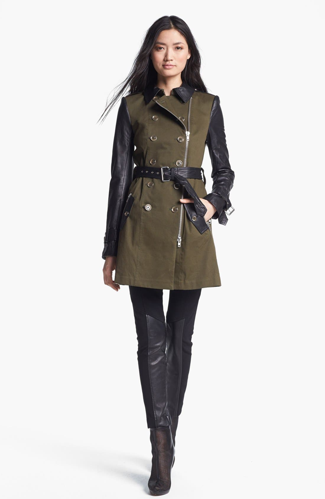 RACHEL ZOE,                             Belted Double Breasted Trench Coat,                             Alternate thumbnail 4, color,                             340
