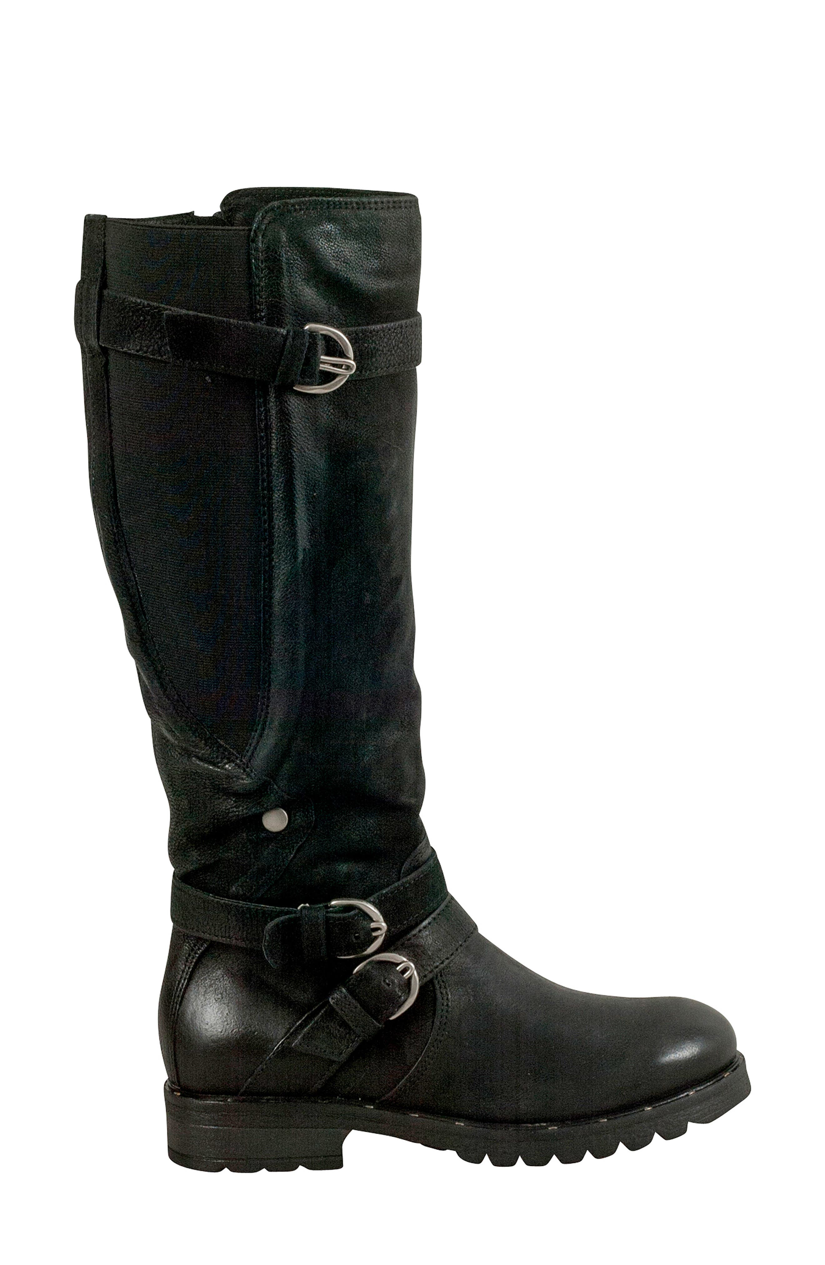 Prim Knee High Boot,                             Alternate thumbnail 3, color,                             BLACK LEATHER