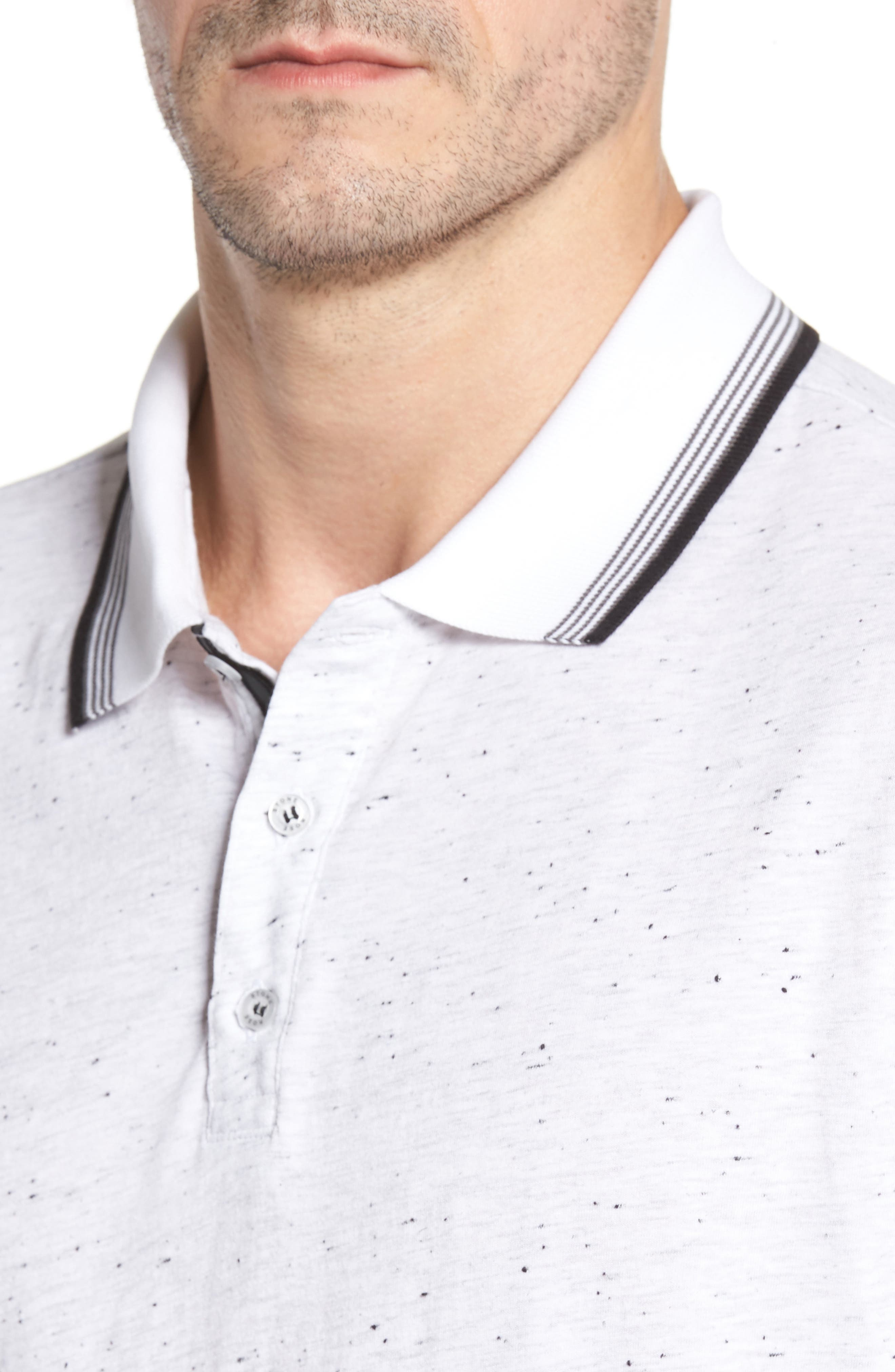 Speckle Knit Long Sleeve Polo,                             Alternate thumbnail 8, color,