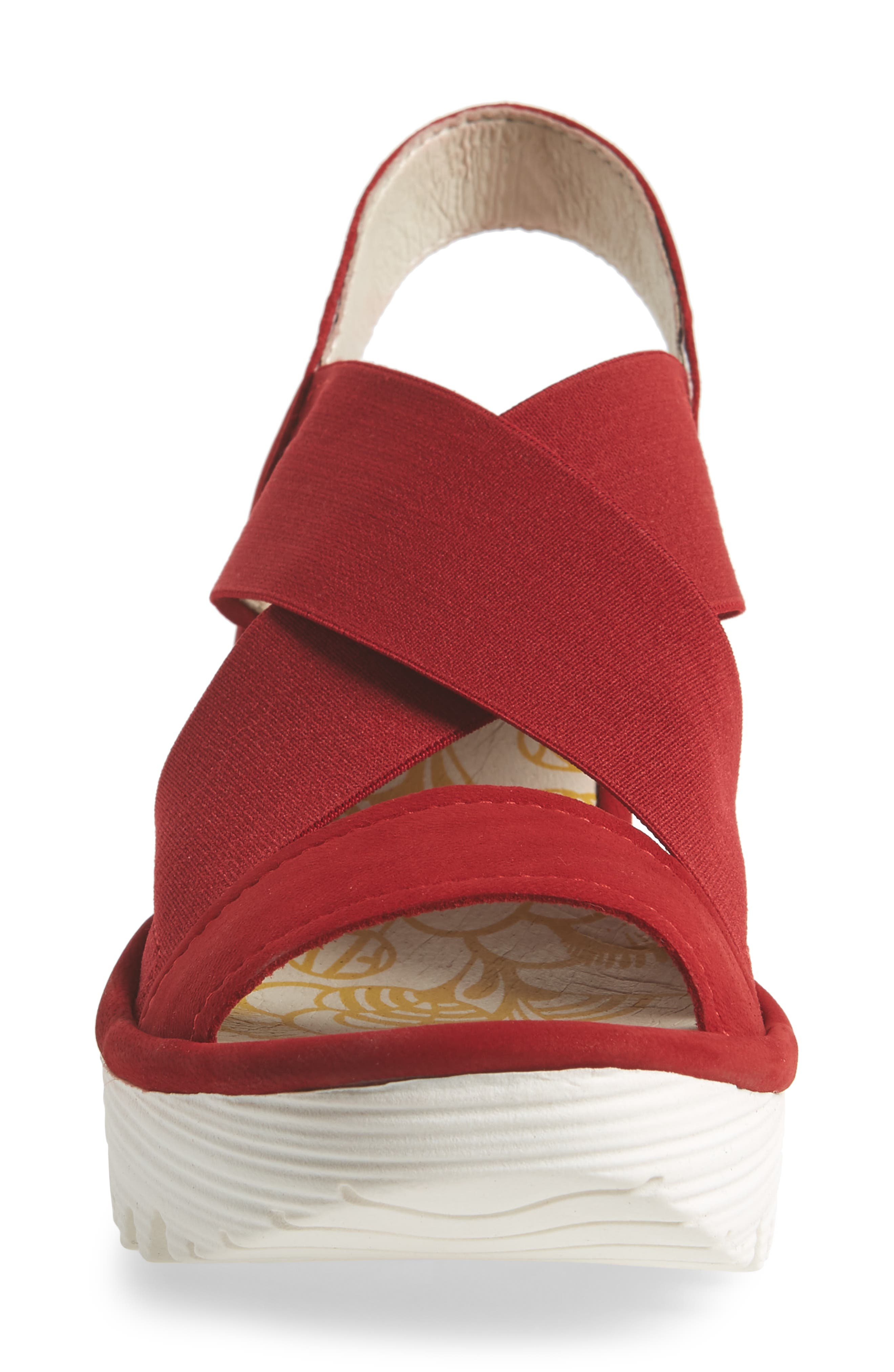 Yaji Cross Wedge Sandal,                             Alternate thumbnail 4, color,                             RED LEATHER