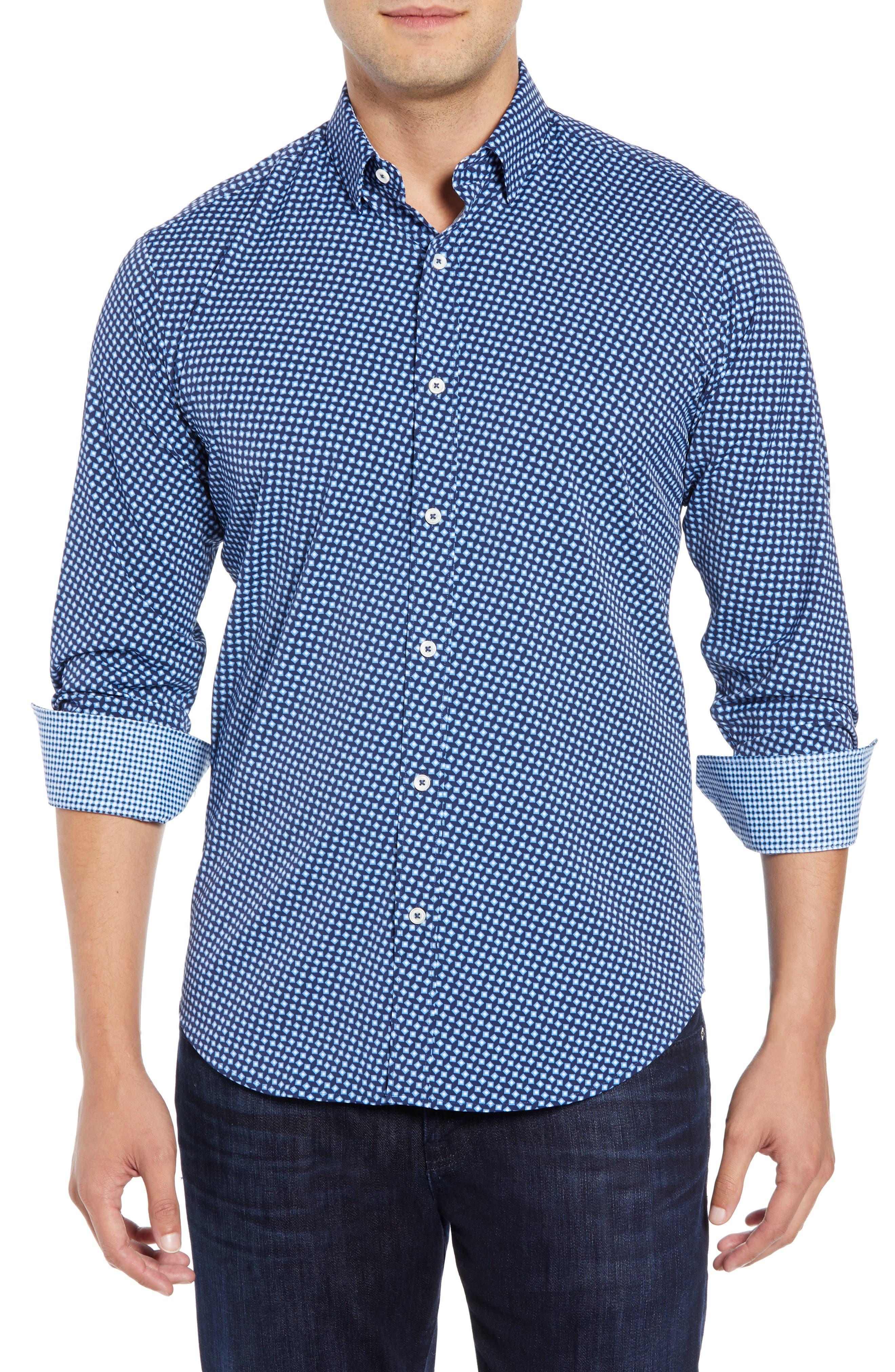 Shaped Fit Geometric Performance Sport Shirt,                         Main,                         color, NAVY