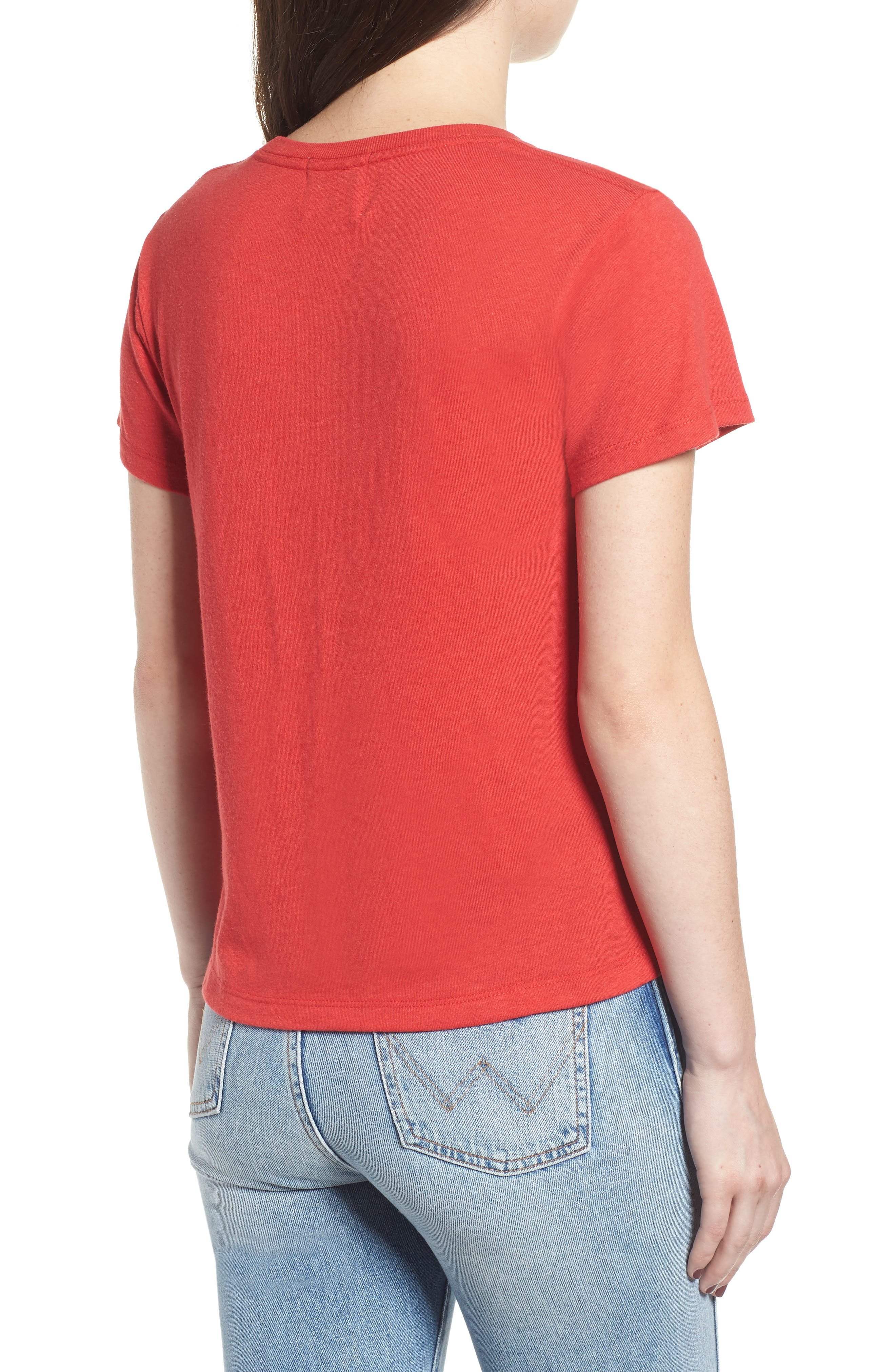x Erin & Sara Depends Who's Asking Tee,                             Alternate thumbnail 2, color,                             RED