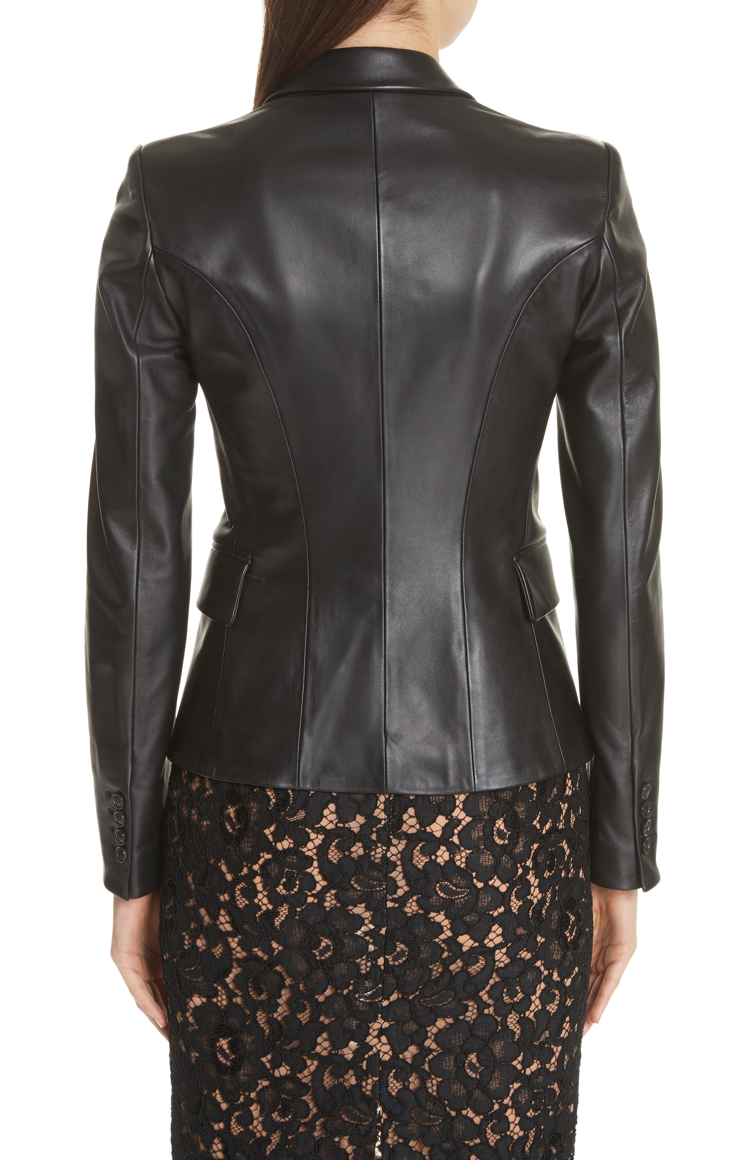 Plongé Leather Jacket,                             Alternate thumbnail 2, color,                             BLACK