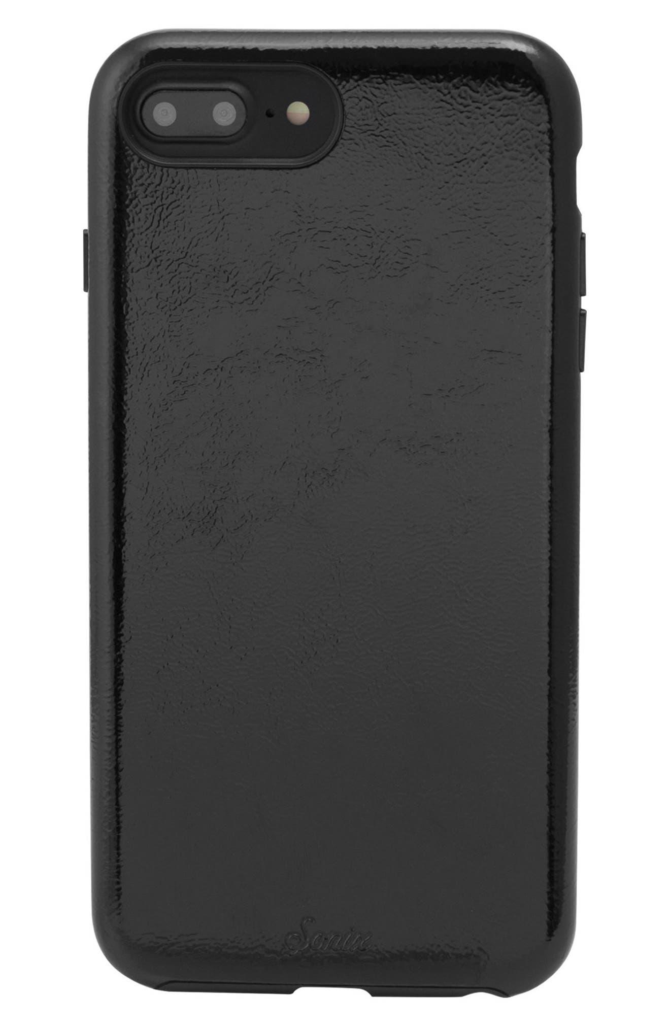 Cherry Faux Leather iPhone 6/6s/7/8 Plus Case,                             Main thumbnail 1, color,                             BLACK