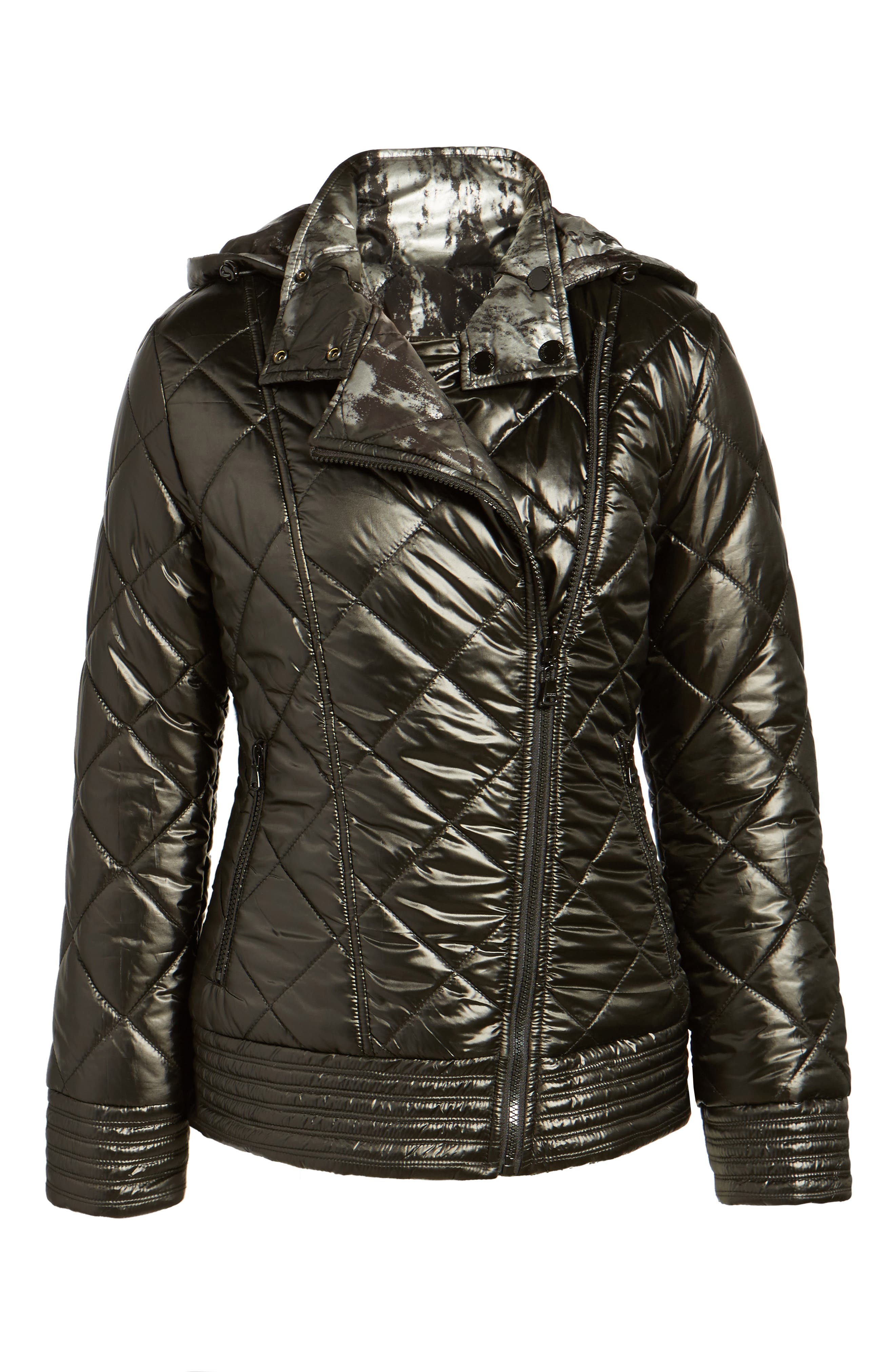 Reversible Packable Asymmetrical Quilted Jacket,                             Alternate thumbnail 5, color,